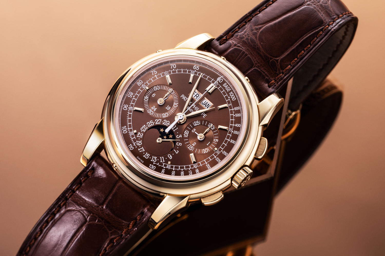 Wei's Patek Philippe Perpetual Calendar Chronograph 5970, this variation is a very special end-of-series execution with a bronze dial (Image © Revolution)