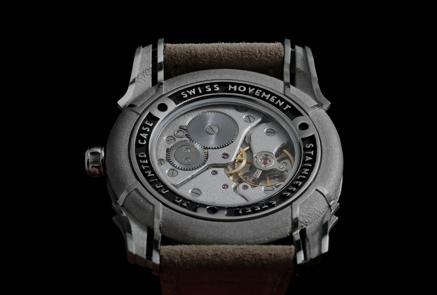 Holthinrichs Watches RAW Ornament seen from the back, showing off the heavily reworked Peseux 7001 manually wound movement powering it