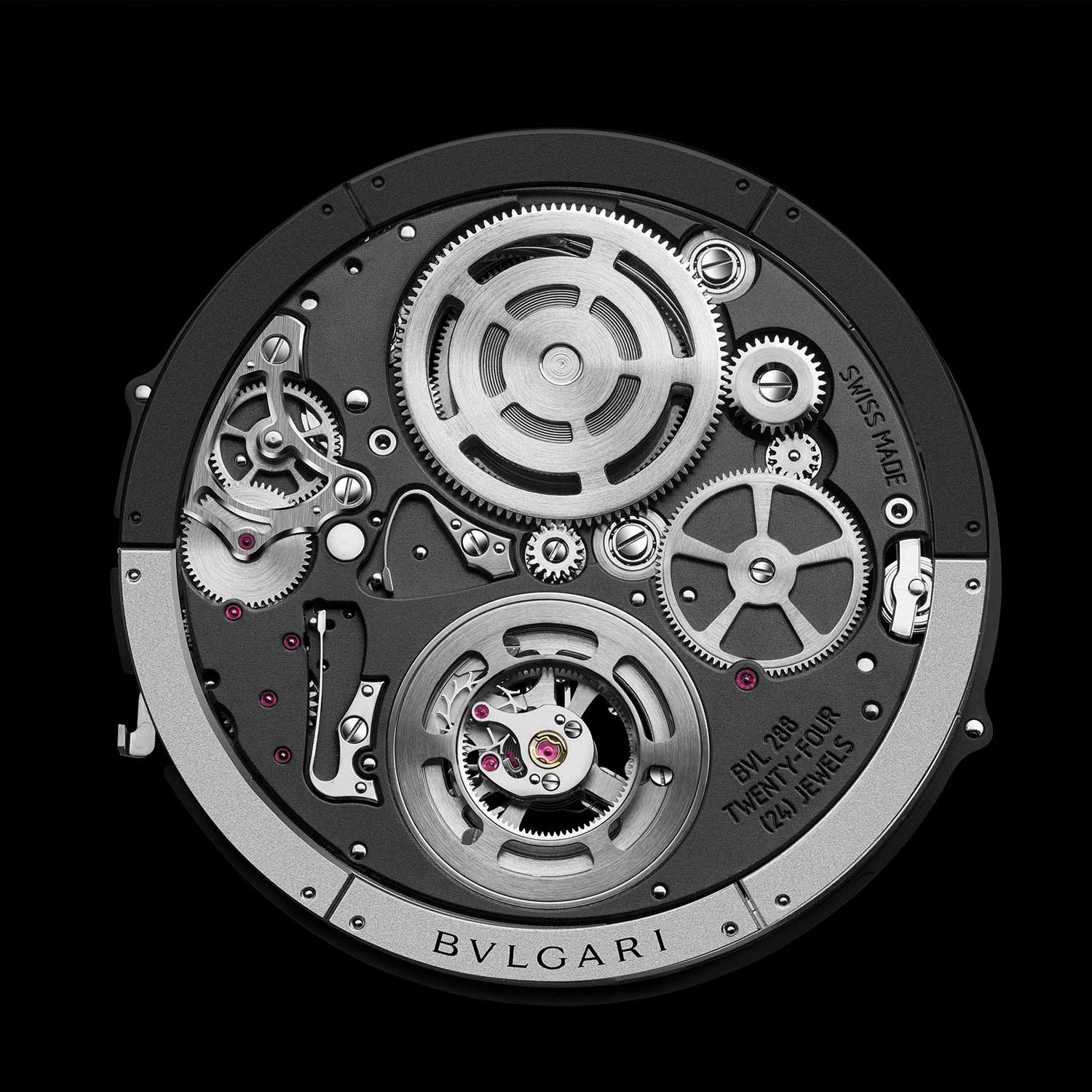 The Bvlgari BVL 228 Automatic Tourbillon movement seen from the back with the peripheral rotor visible
