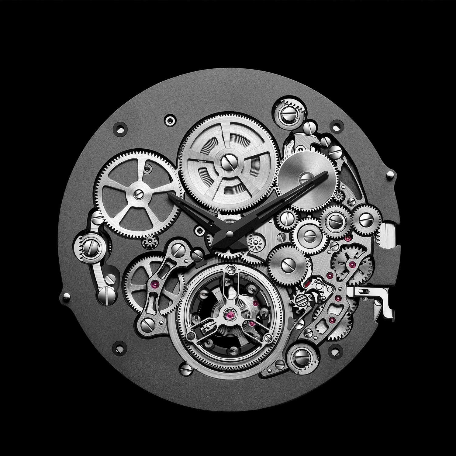 The Bvlgari BVL 228 Automatic Tourbillon movement seen from the front