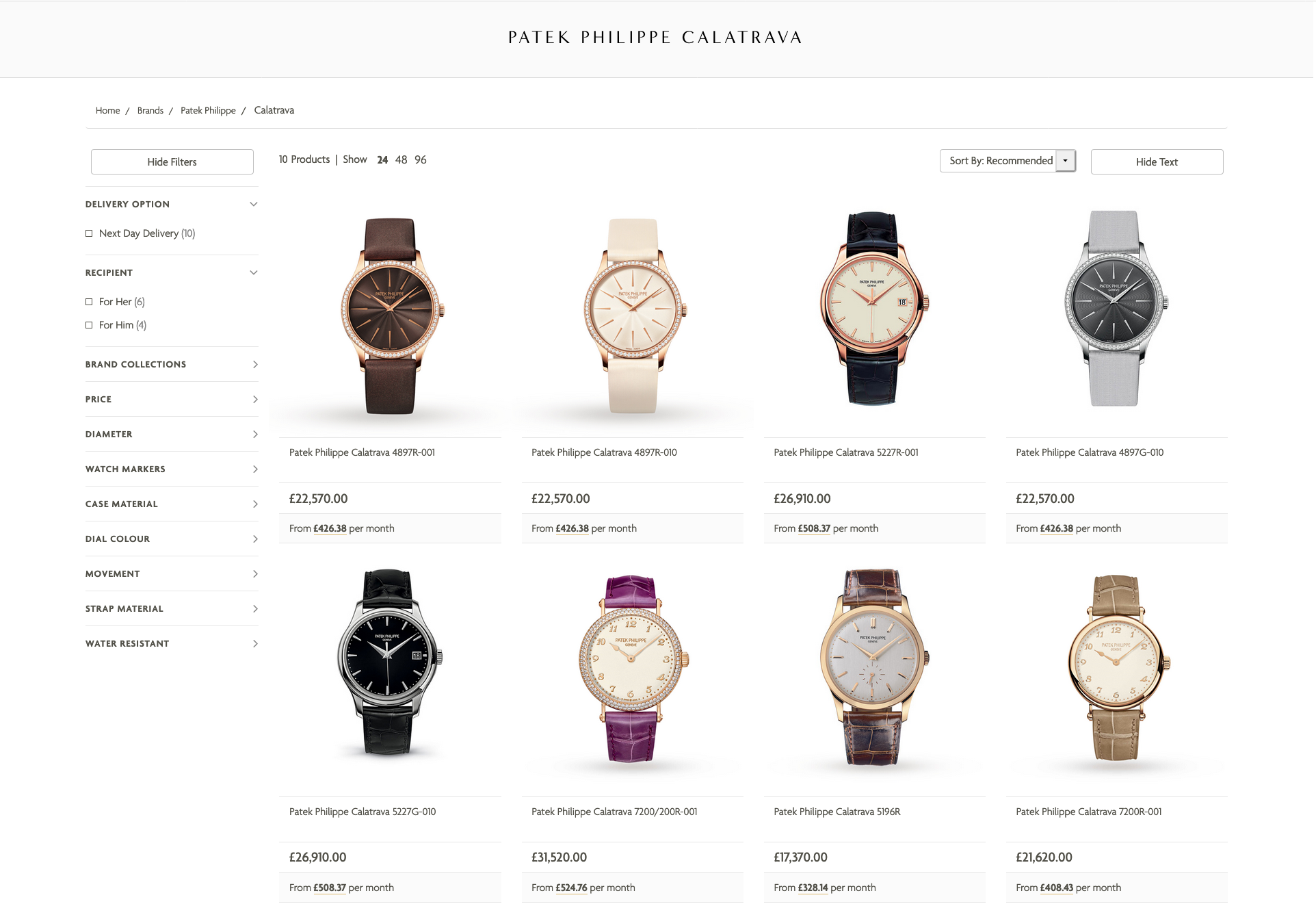The Watches of Switzerland UK Website retailing Patek Philippe, with guidelines from the brand. - www.revolution.watch