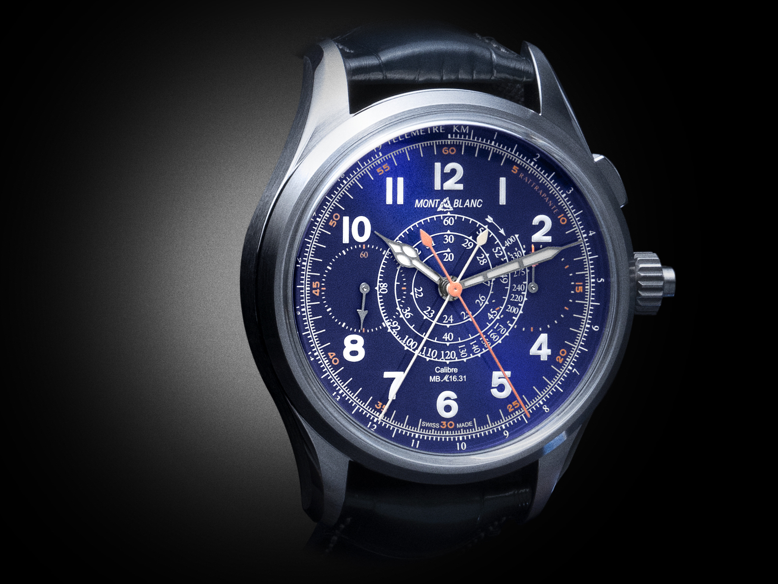 The Montblanc 1858 Split Seconds Chronograph LE 100 in titanium with grand feu blue enamel dial. - www.revolution.watch