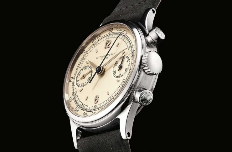 1942 Patek Philippe Chronograph ref. 1463 in steel with a tachometer scale (phillipswatches.com)