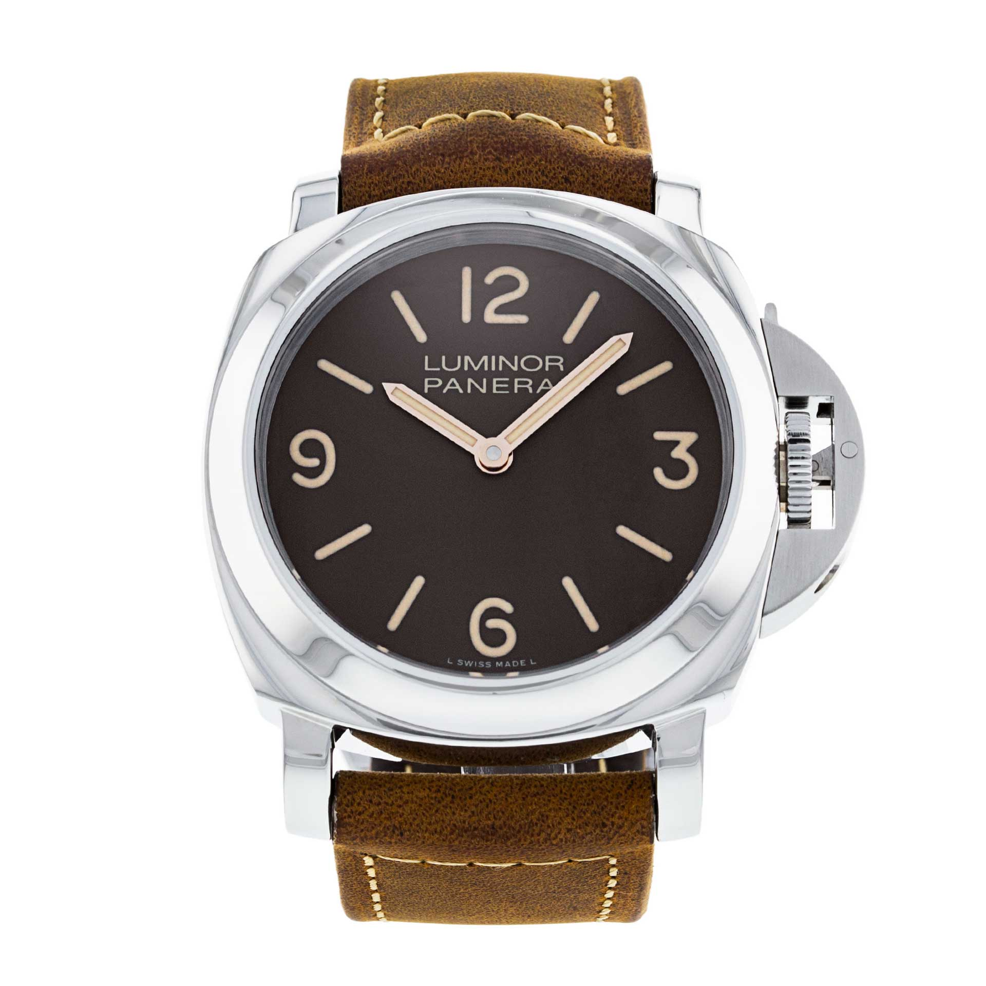 The Panerai Luminor Base Edition PAM 00390 seen here fitted on an Assolutamente a patinaed calf strap