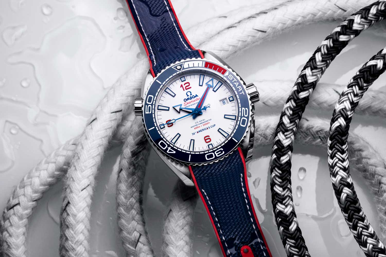 The 2,021 piece limited edition Omega Seamaster Planet Ocean 600M 36th America's Cup LE, with a unique countdown bezel design for the regatta
