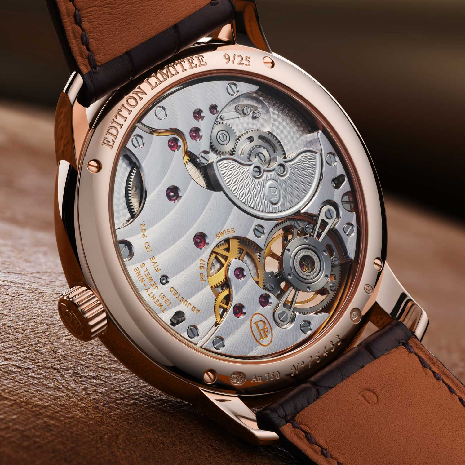 The tourbillon of the PF715 caliber, featured up close on the main plate of the movement