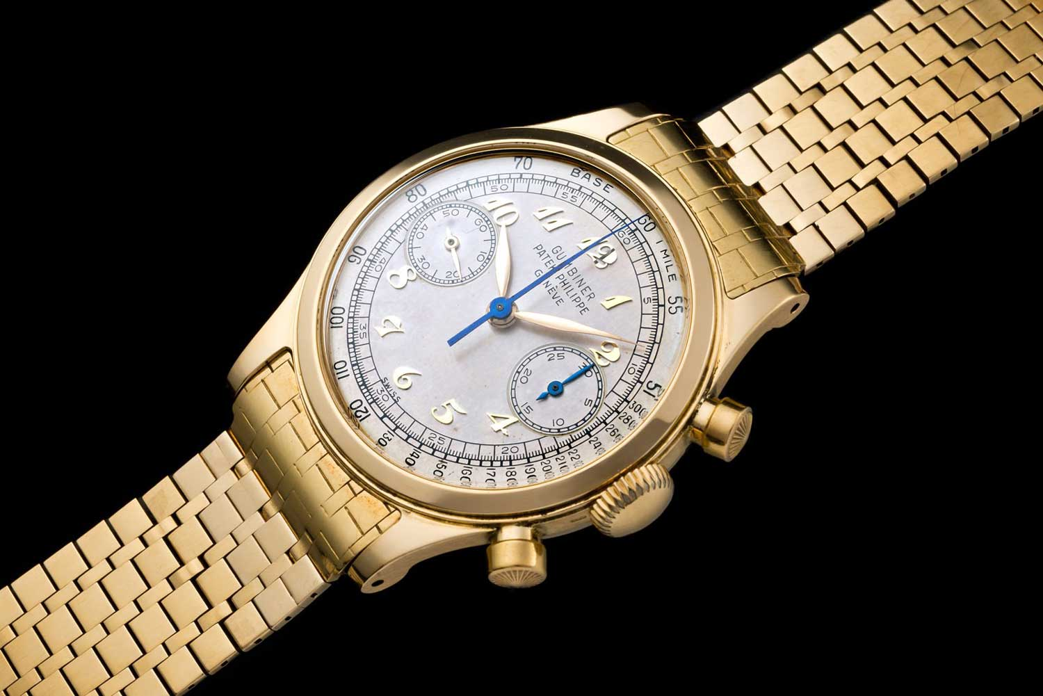 Patek Philippe Chronograph ref. 1463 with Breguet numerals in yellow gold (Image: Onlyvintage)