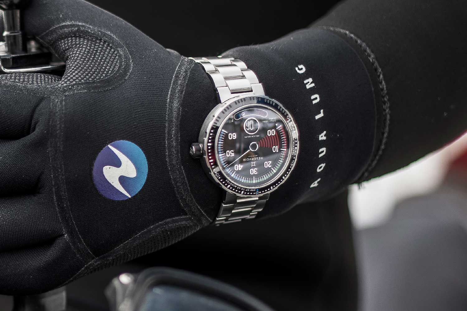 For the launch of the Hydrosphere in 2019, the brand headed on a diving trip with the watch; the Hydrosphere Blackfin also comes with a rubber strap.