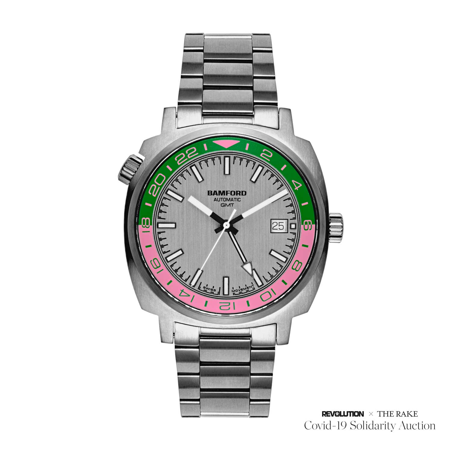 Unique Pink and Green Bamford GMT for Revolution x The Rake Covid-19 Solidarity Auction