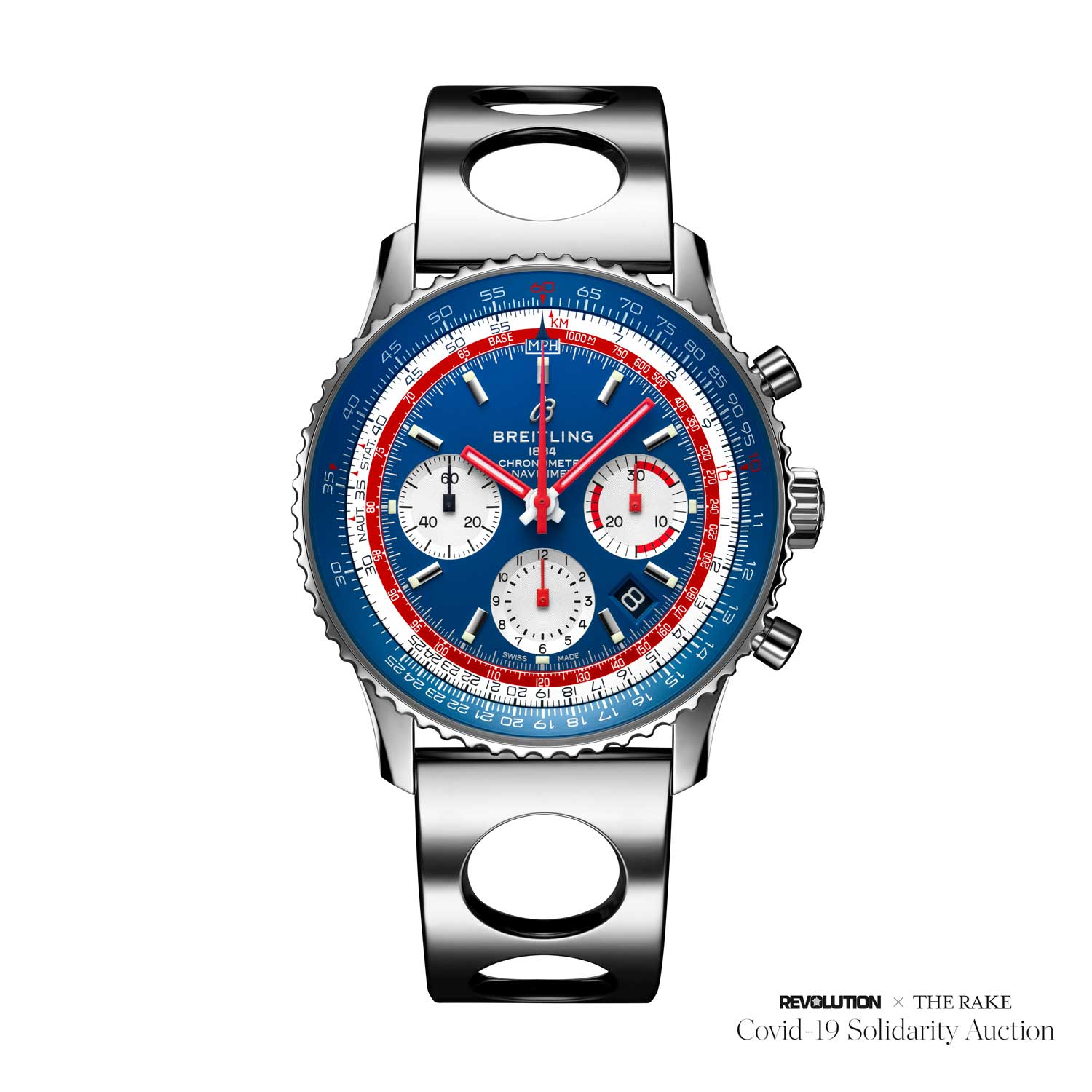 CEO Georges Kern's personal Navitimer B01 Pan Am limited-edition on an Air Racer bracelet with video message for winner