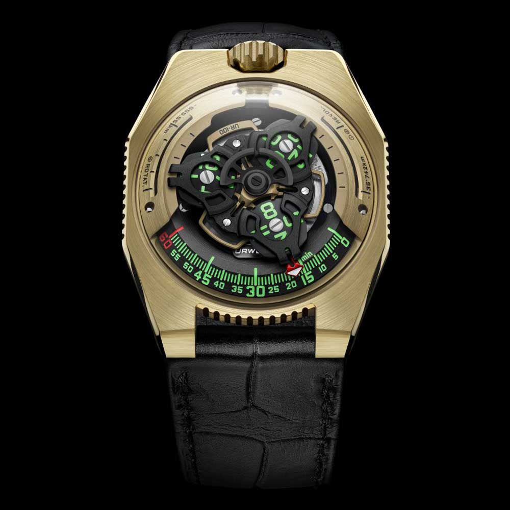 The gold edition of the URWERK UR-100 is limited to 25 pieces only.