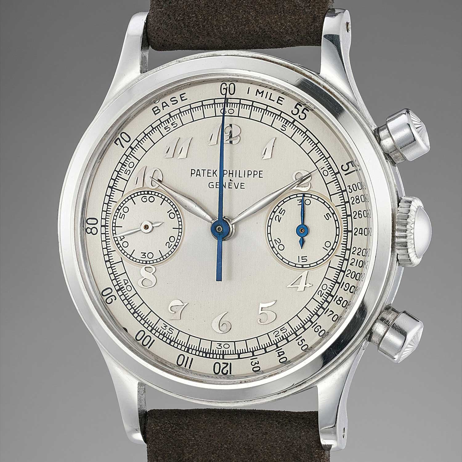 1950 Patek Philippe chronograph ref. 1463 in steel with Breguet numerals (Image: phillipswatches.com)