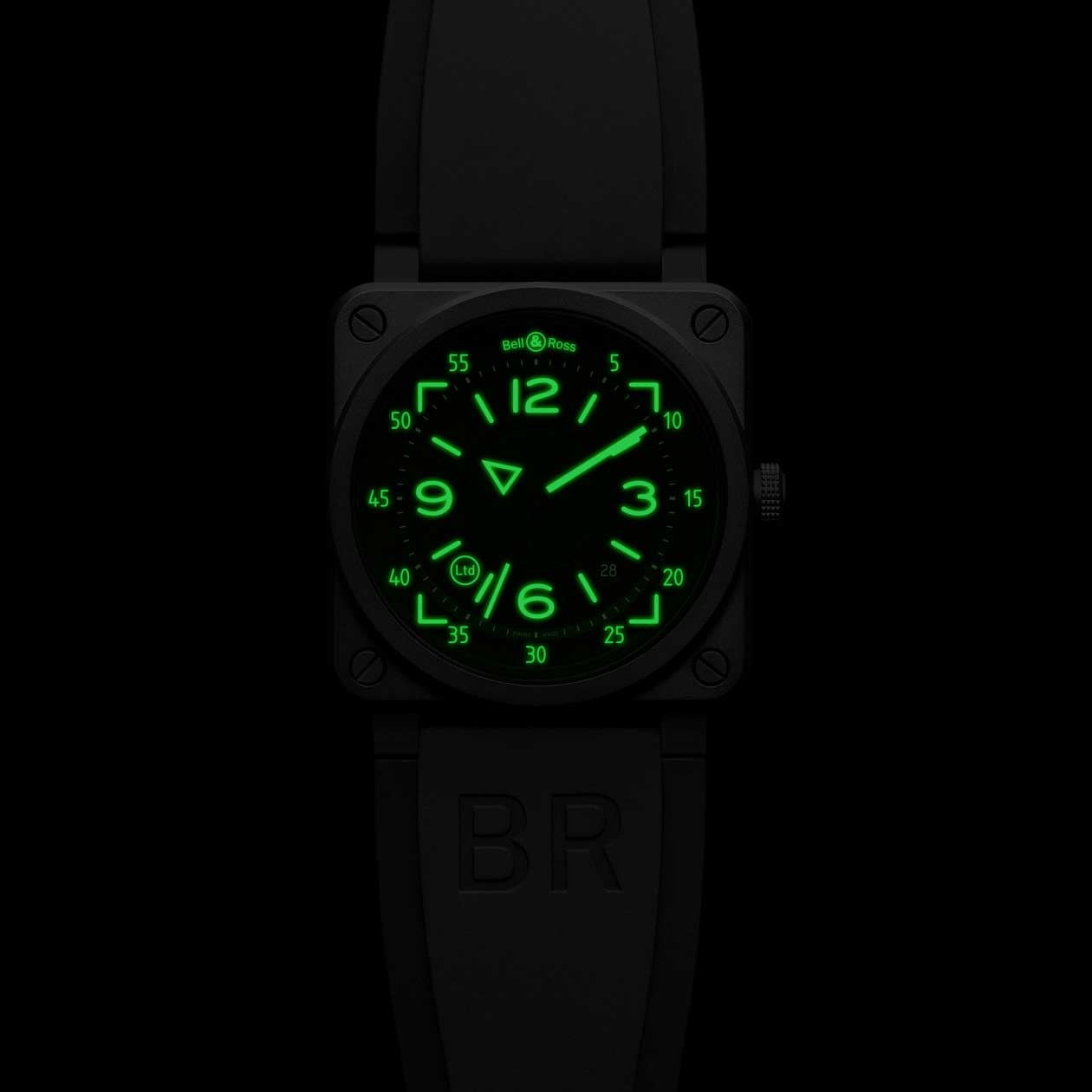 The Bell & Ross BR 03-92 H.U.D in the dark
