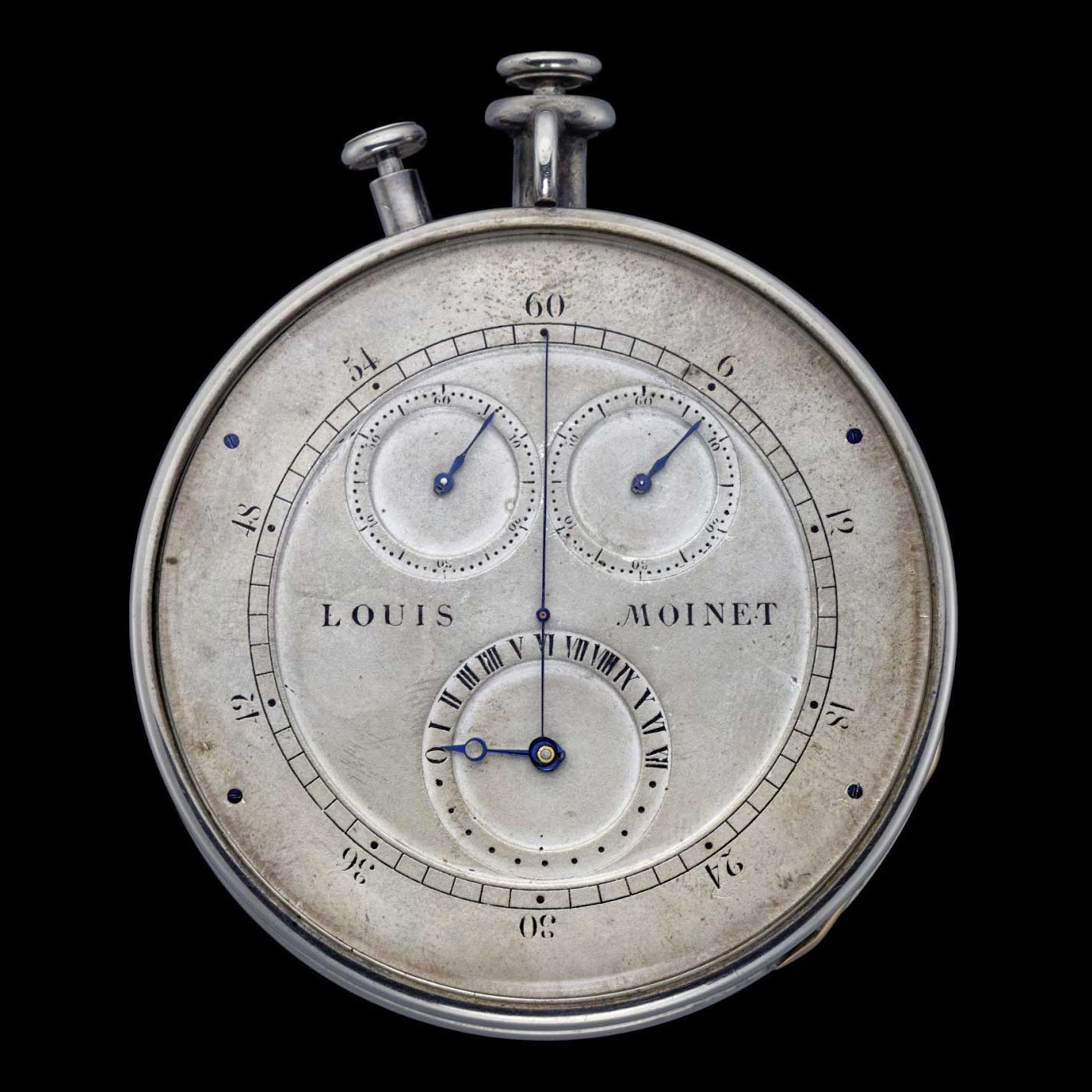 "The world's first chronograph, called a ""Compteur de Tierces,"" was invented by Louis Moinet in 1815 and completed in 1816, as attested by The Guinness World Records"