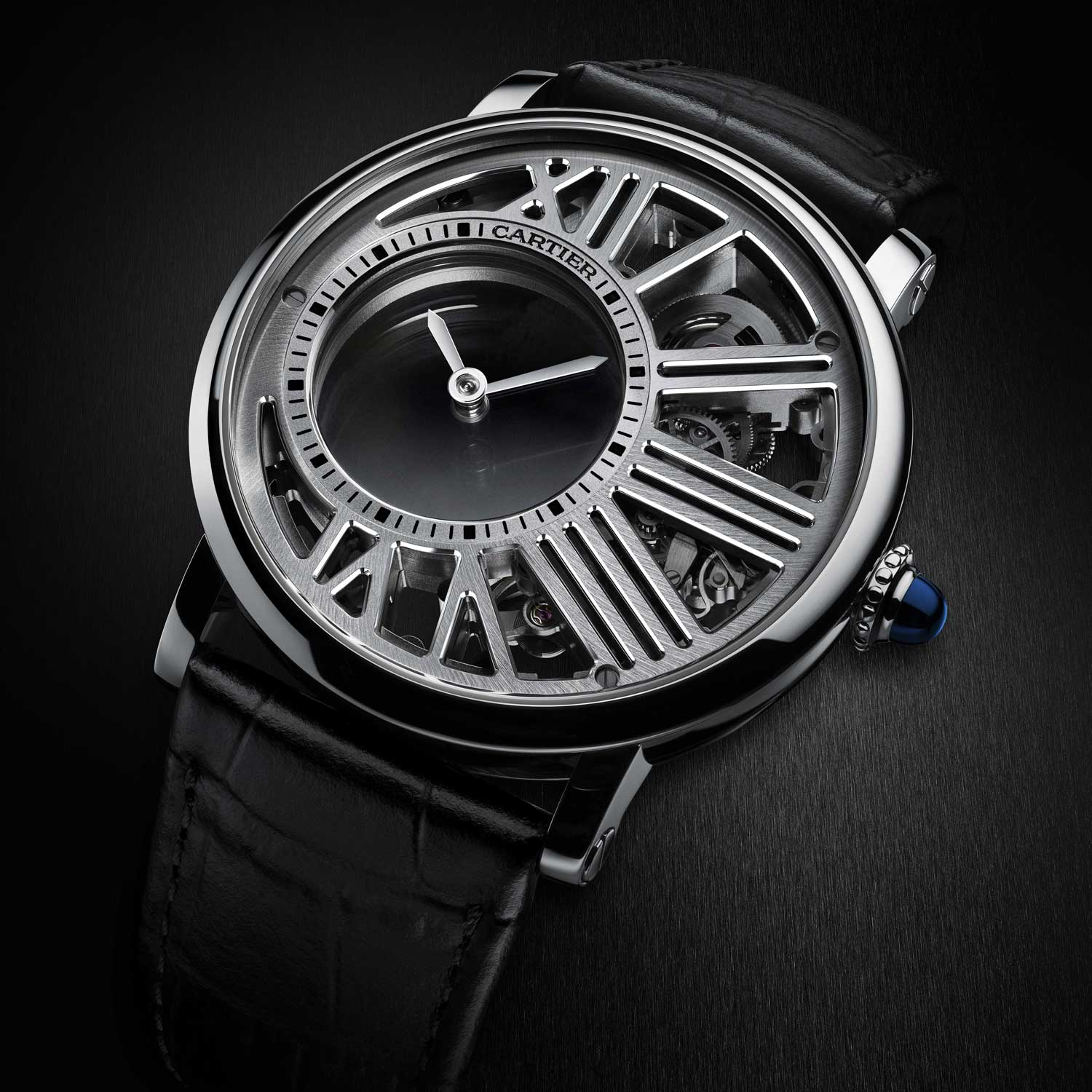 The Rotonde de Cartier Mysterious Hour Skeleton in white gold
