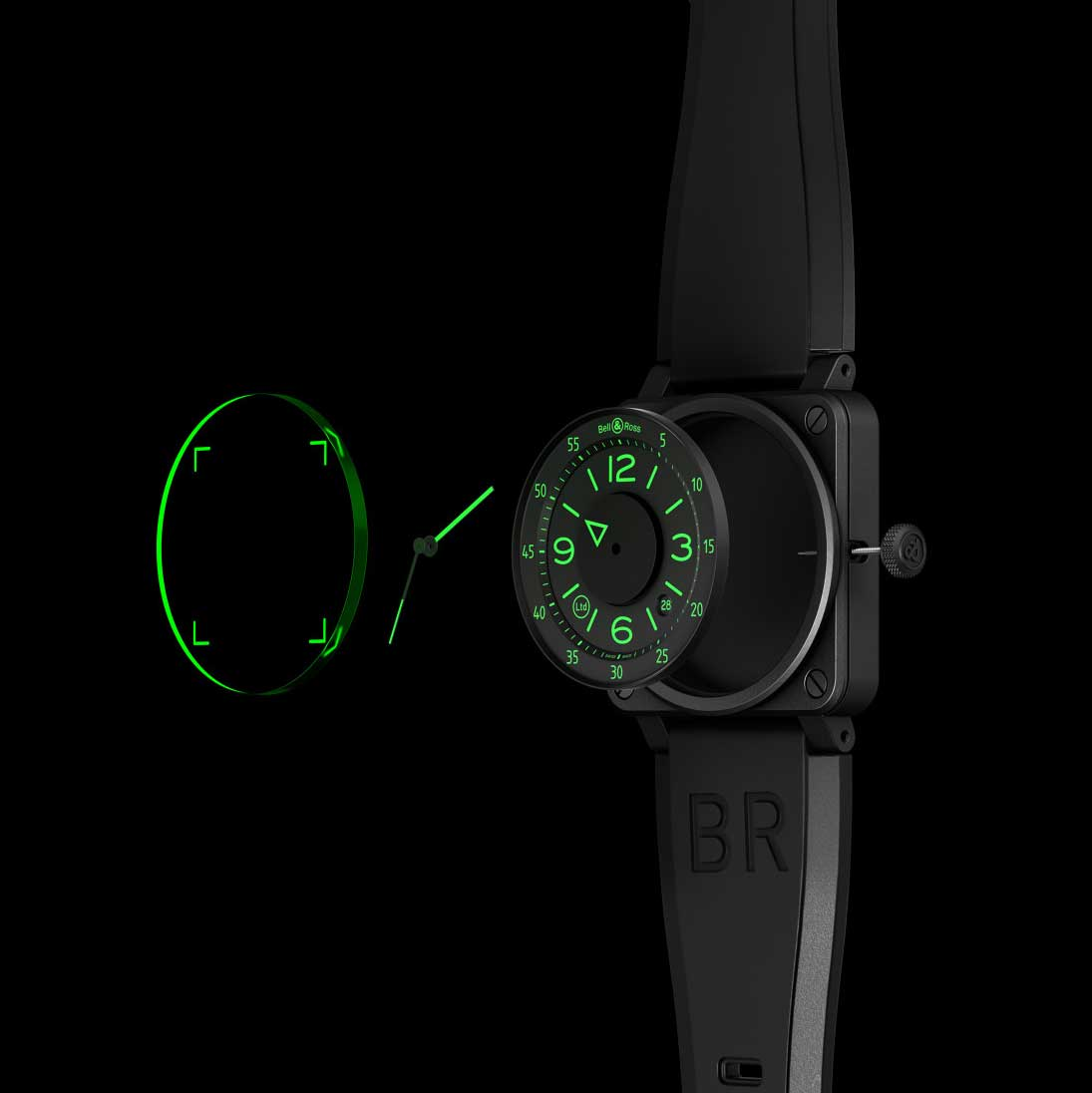 The dial layers of the Bell & Ross BR 03-92 H.U.D