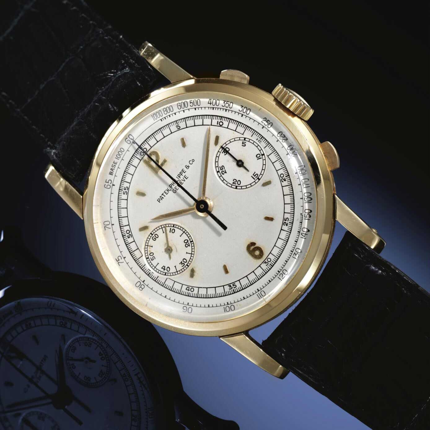 1941 Patek Philippe ref. 1506 pink gold chronograph with silvered dial, applied gold Arabic and baton numerals (Image: Sothebys.com)
