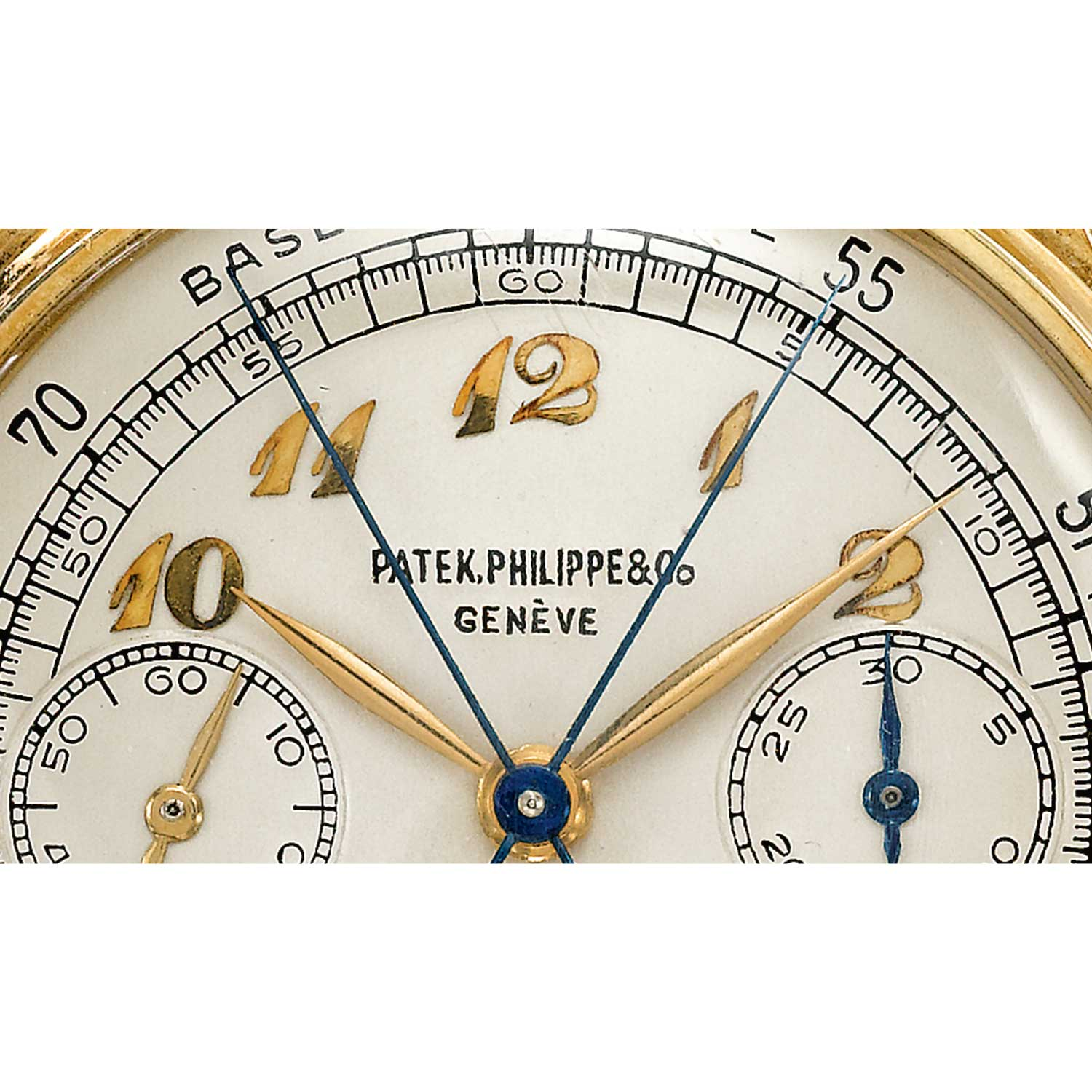 Dial close up of the Case side of the 1946 Patek Philippe ref. 1436 yellow gold split second chronograph with Breguet numerals (Sothebys.com)