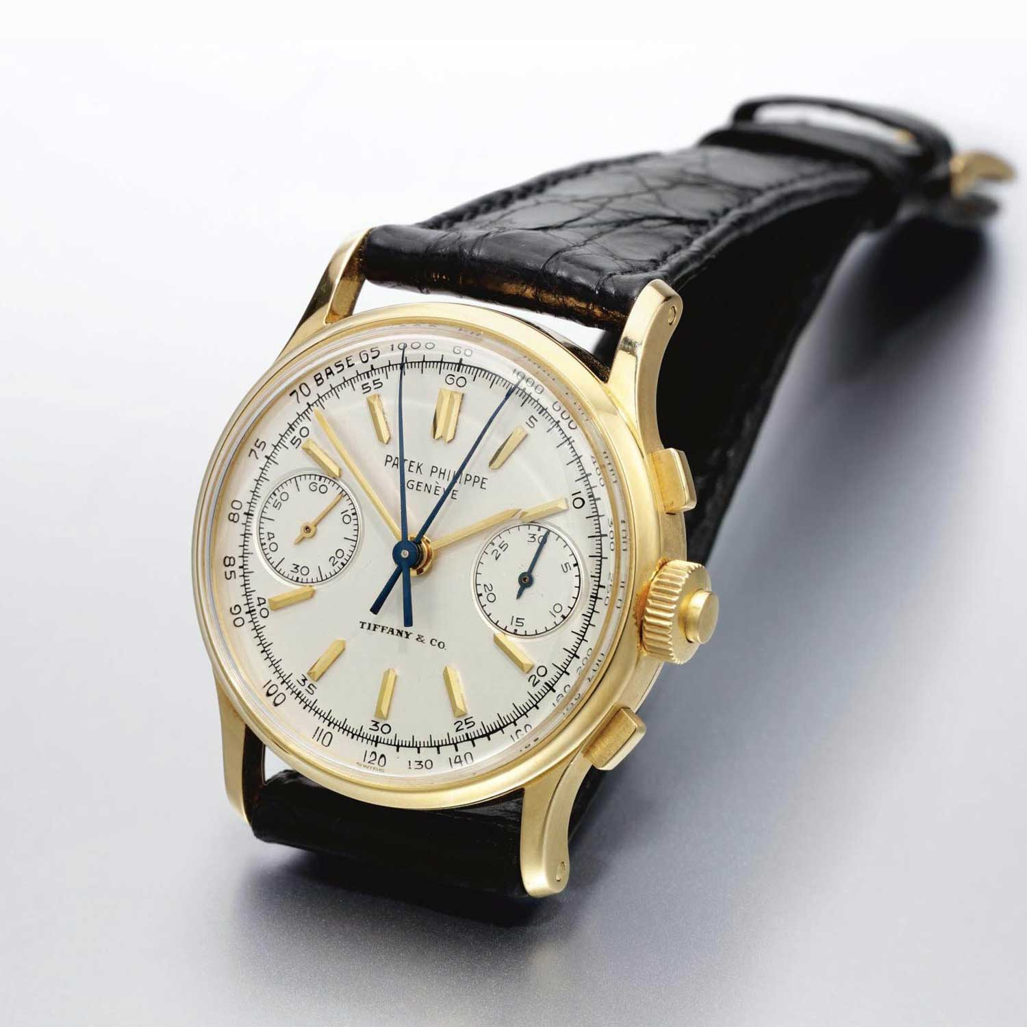 1969 Patek Philippe ref. 1436 yellow gold split second chronograph with Tiffany stamp (Sothebys.com)