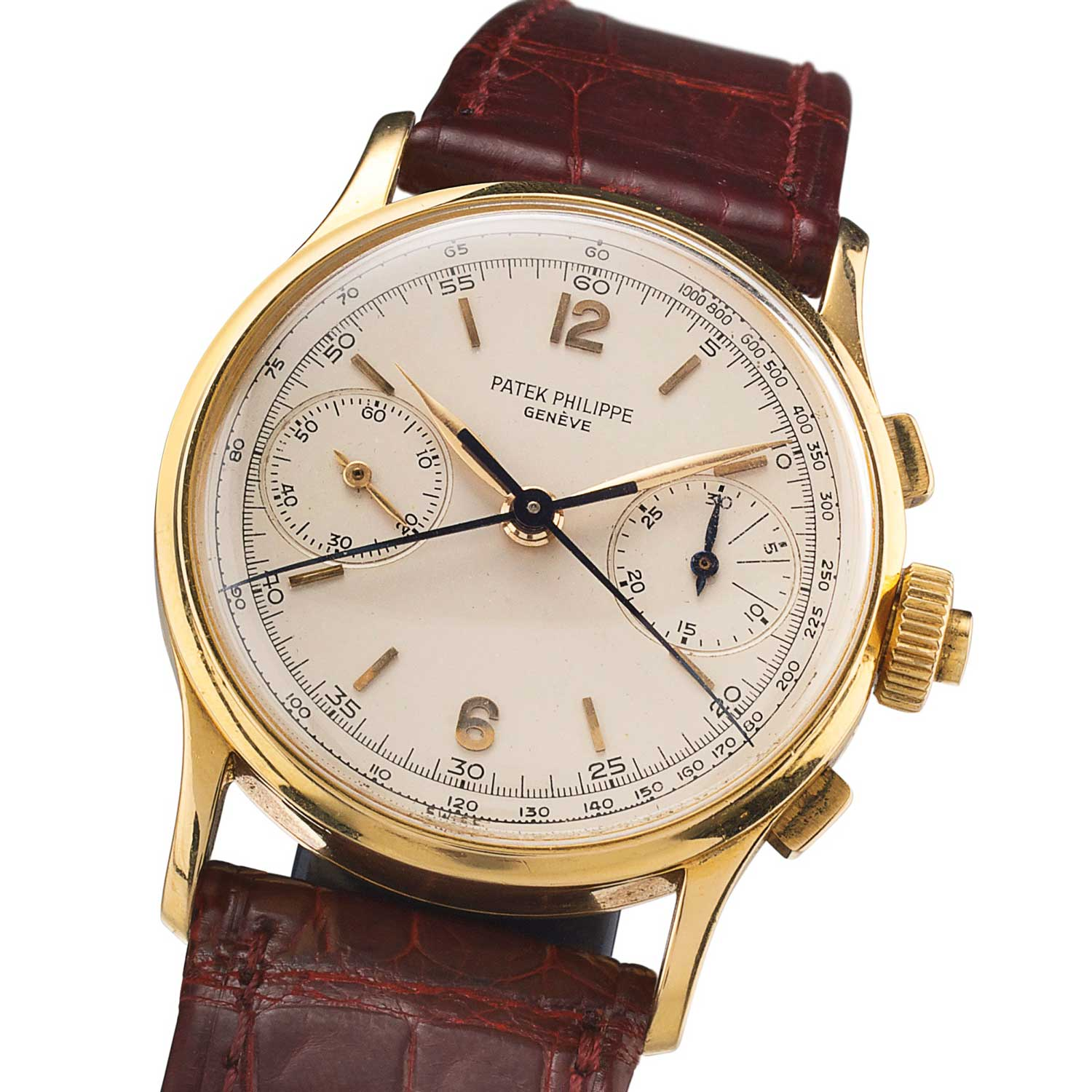 1966 Patek Philippe ref. 1436 yellow gold split second chronograph with silvered dial, applied Arabic numerals and baton indexes, feuille hands (Sothebys.com)