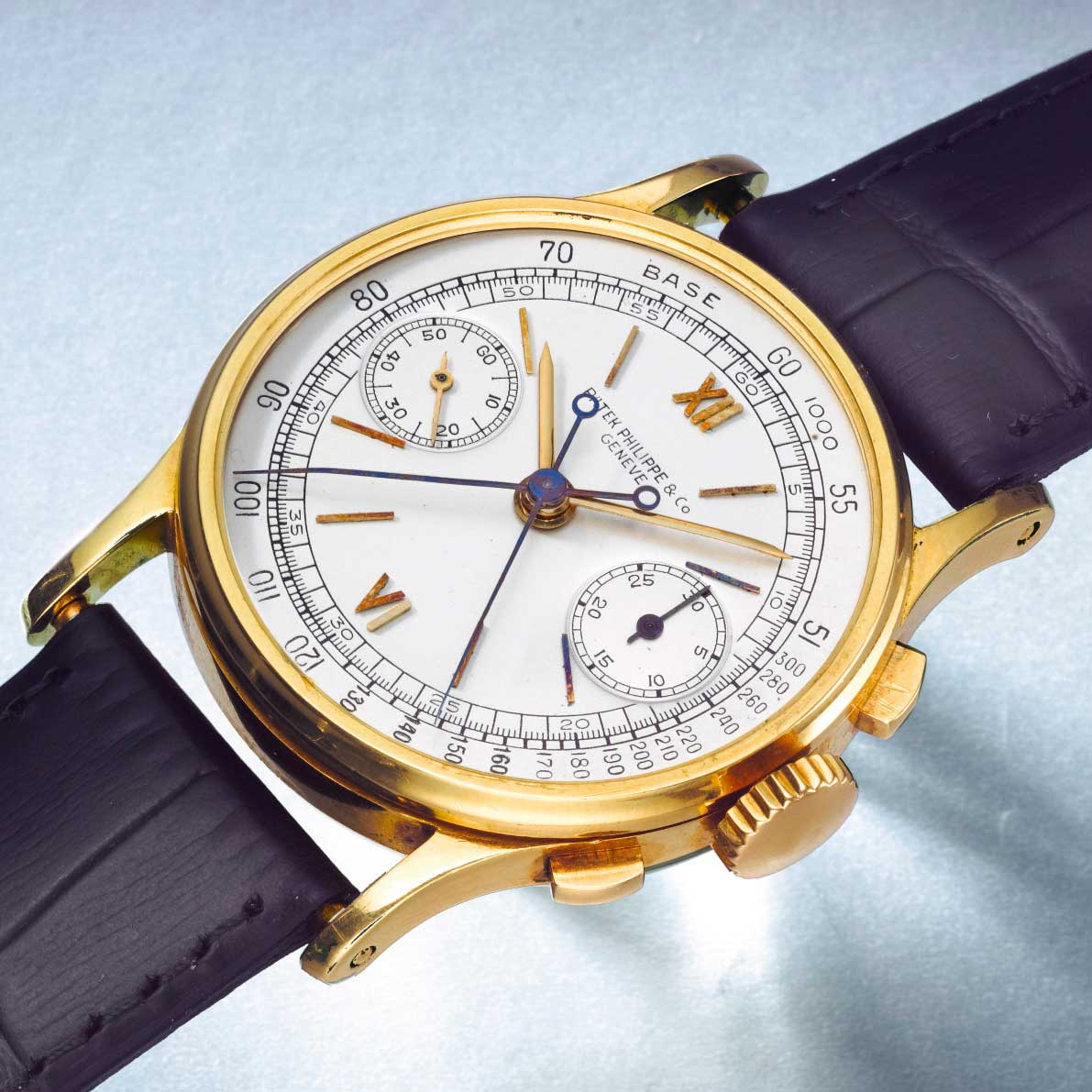 1941 Patek Philippe ref. 1436 yellow gold split second chronograph with silvered matte dial, applied Roman numerals and baton indexes (Sothebys.com)