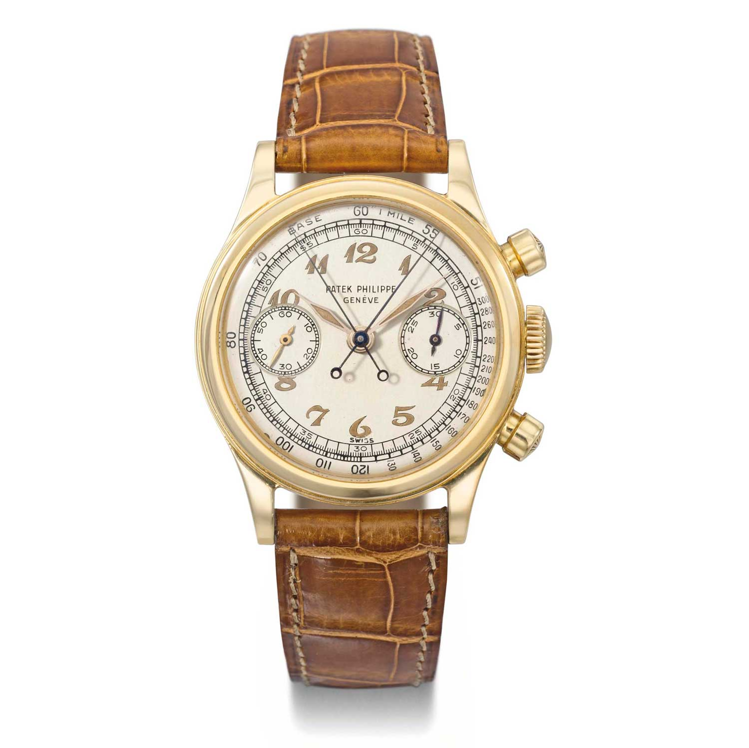 1947 Patek Philippe ref. 1563 gold split second chronograph with luminous Breguet numerals dial (Image: Christies.com)