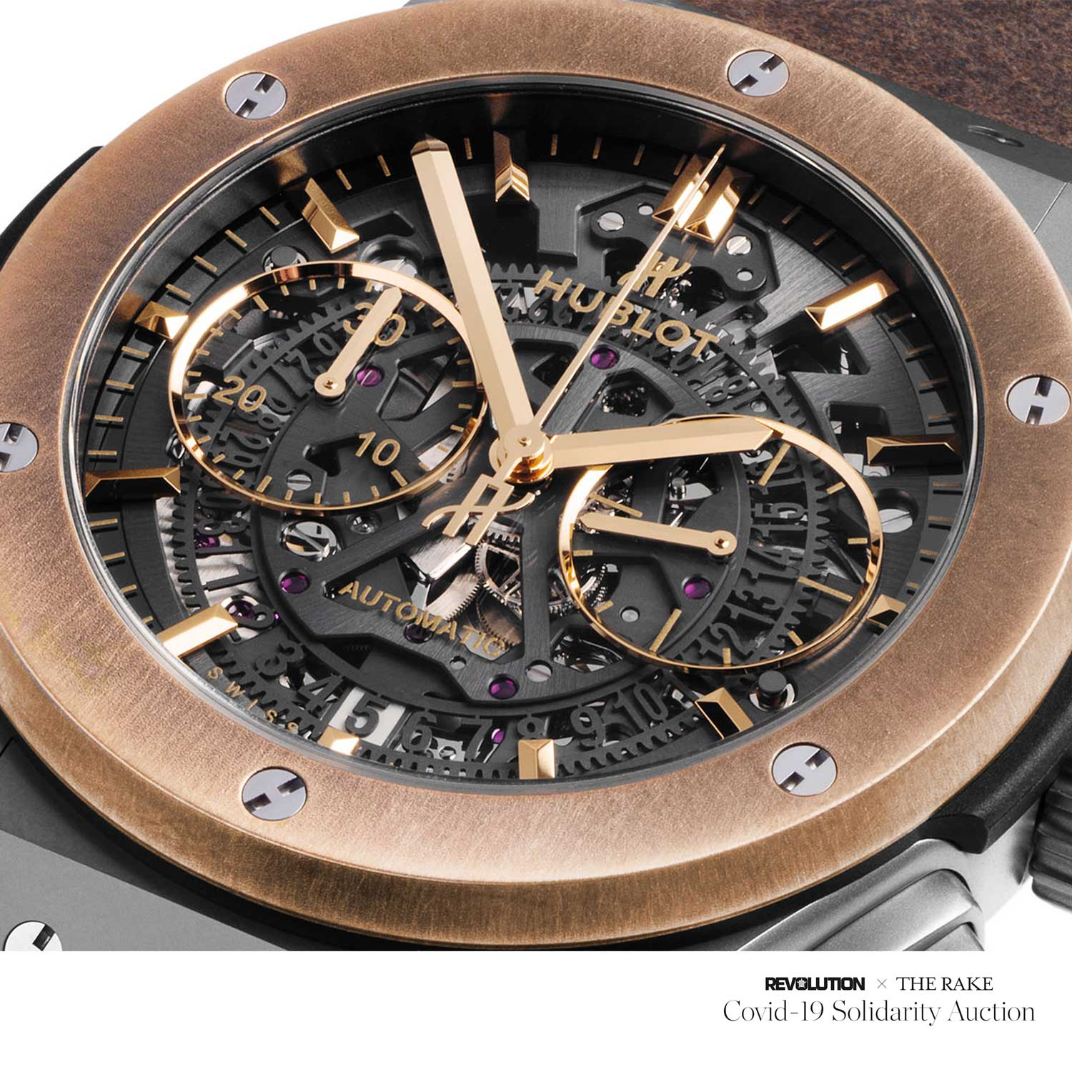 "Factory Prototype Hublot Aerofusion Chronograph ""Molon Labe"" titanium and bronze limited edition for The Rake"