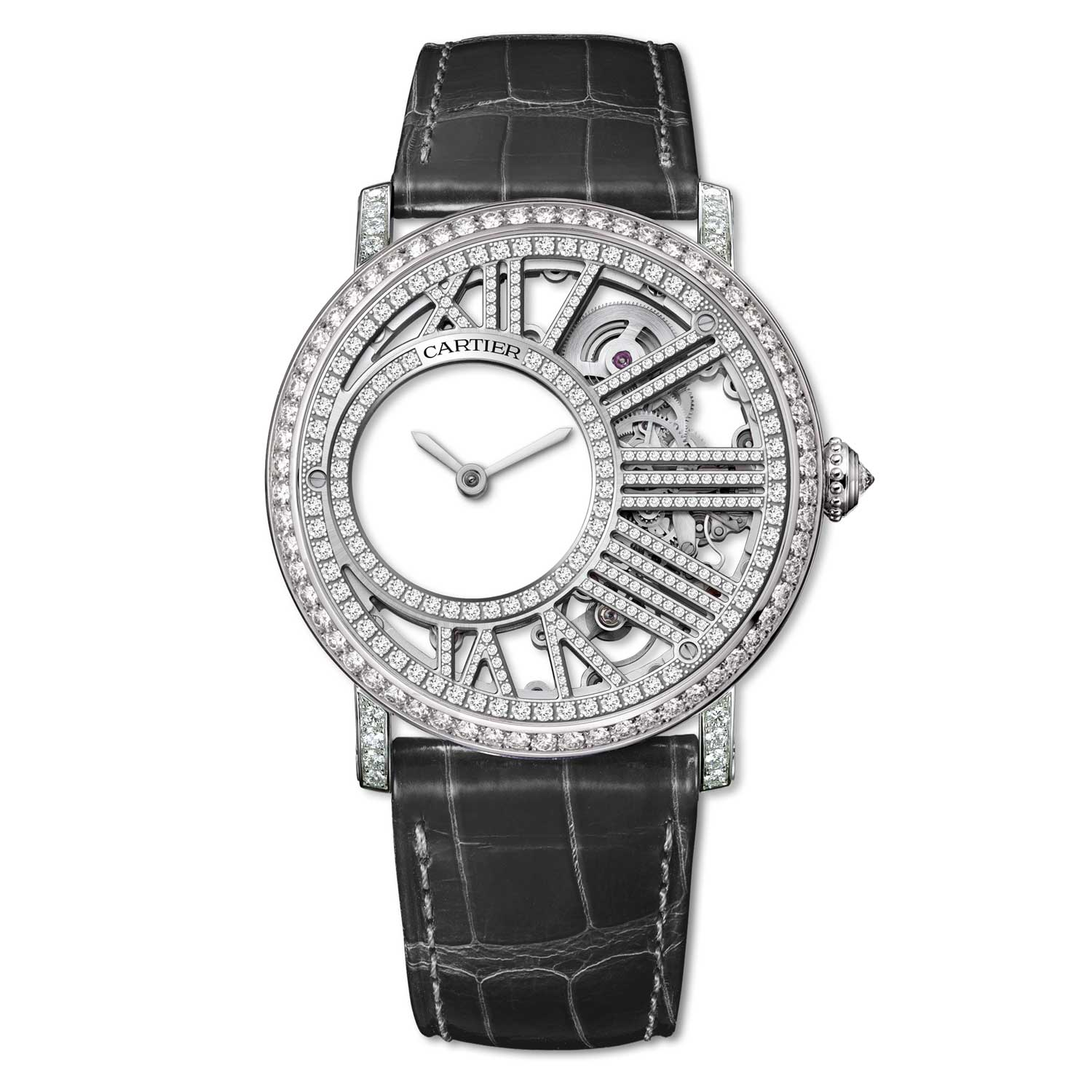 Rotonde de Cartier Mysterious Hour Skeleton in white gold and diamonds