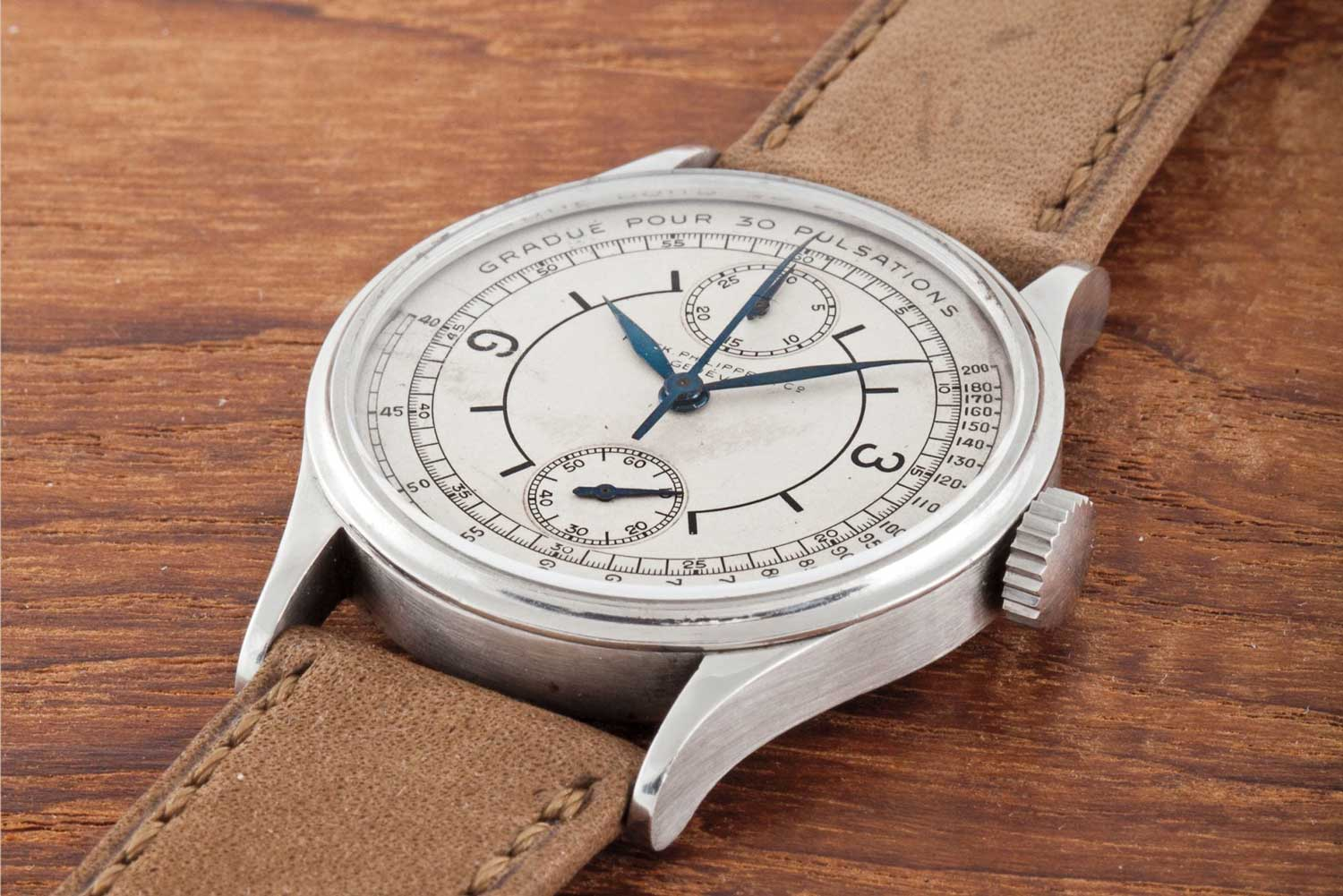 1927 Patek Philippe ref. 130 steel single button chronograph wristwatch with vertical registers, sector dial and pulsometer-scale (Image: phillipswatches.com)