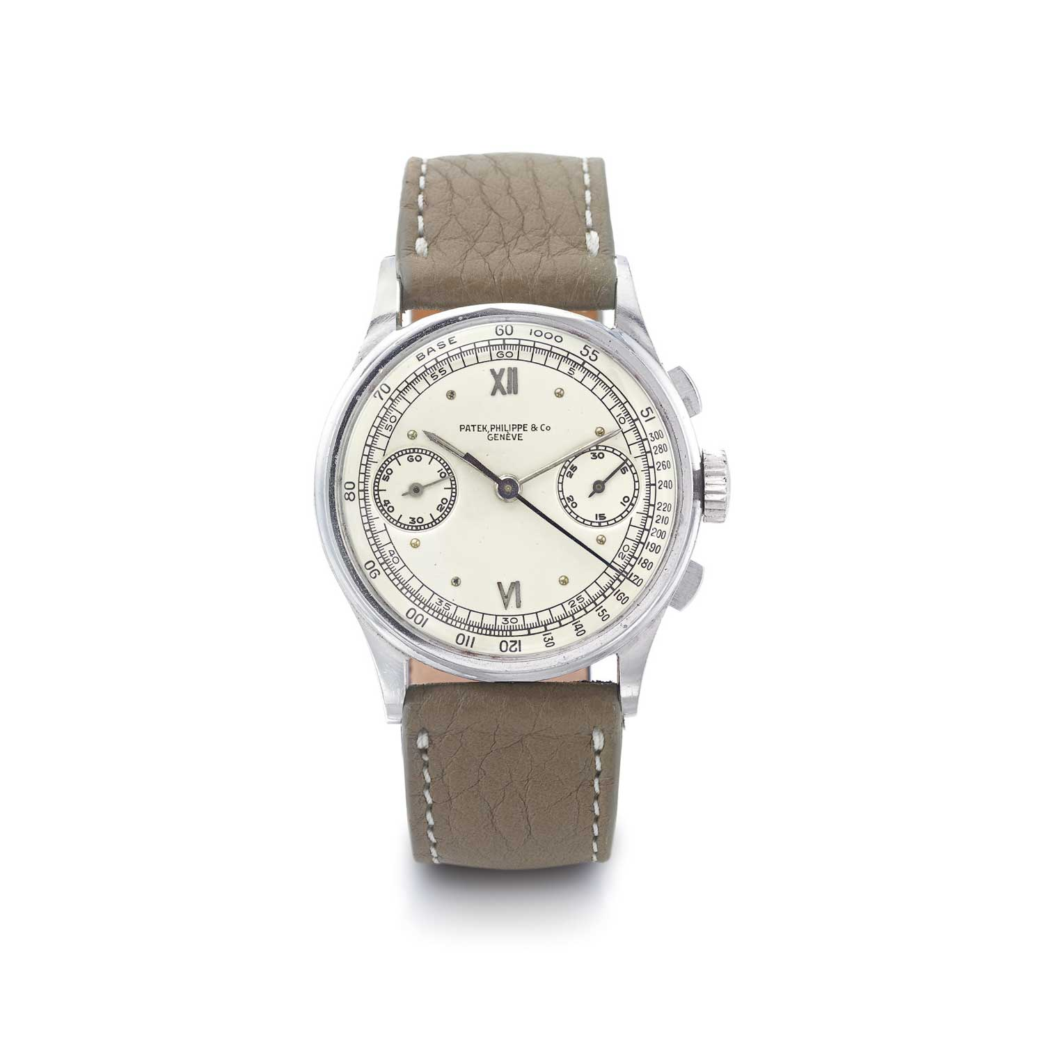 1947 Patek Philippe ref. 130 steel chronograph with applied Roman six and 12 on the dial (Image: Sothebys.com)