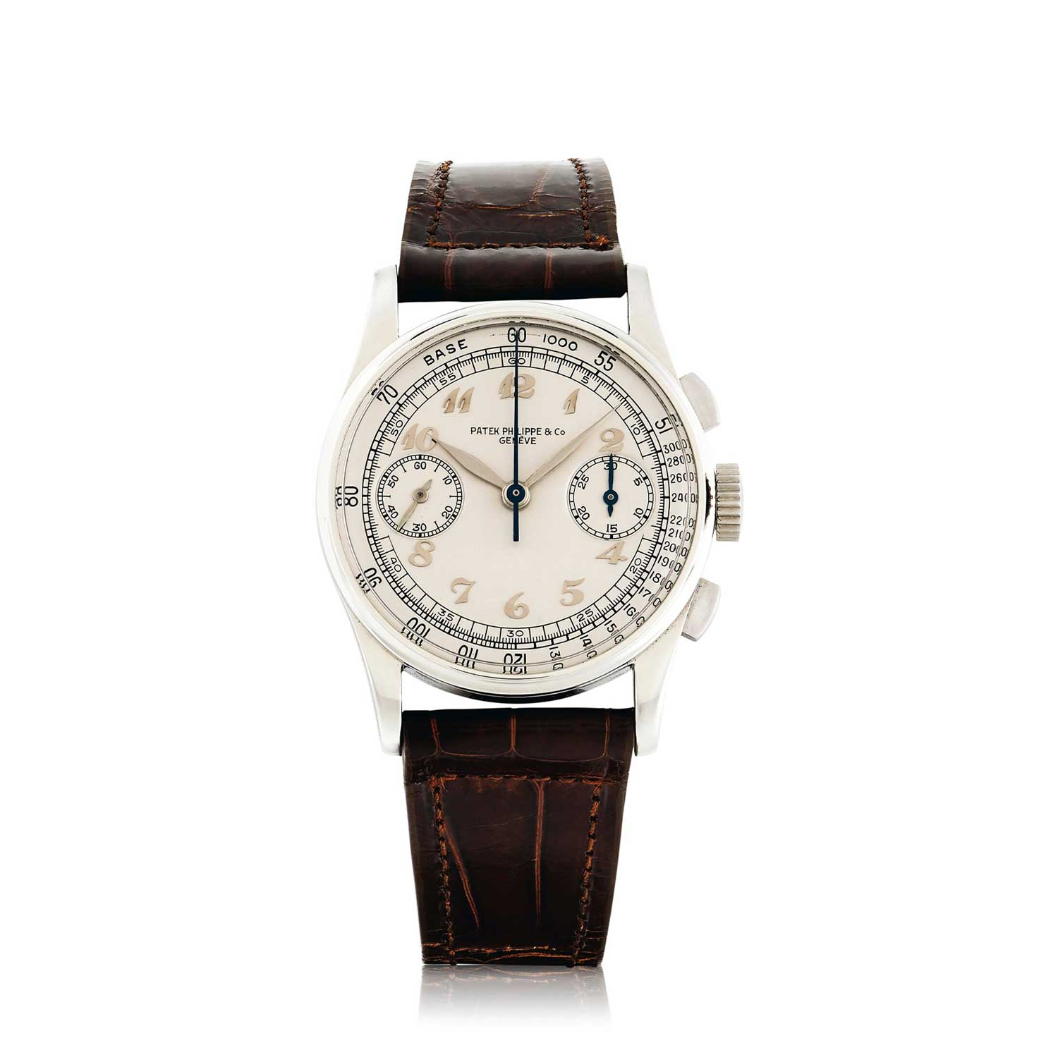 1940 Patek Philippe ref. 130 steel chronograph with applied Breguet hour markers (Image: Sothebys.com)