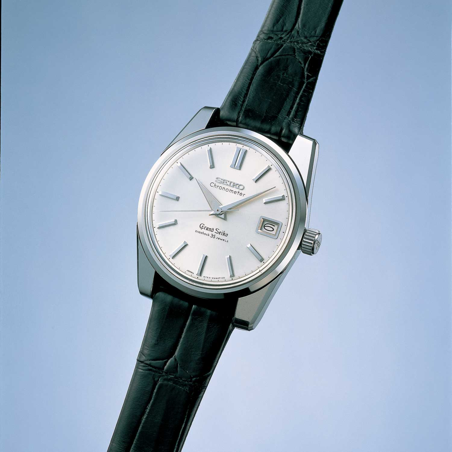 The 57GS commenced production in August 1963 with public launch in February 1964; the exact mode pictured here is a 57GS first featured in the 1966 Seiko catalog (Image: Grand Seiko)