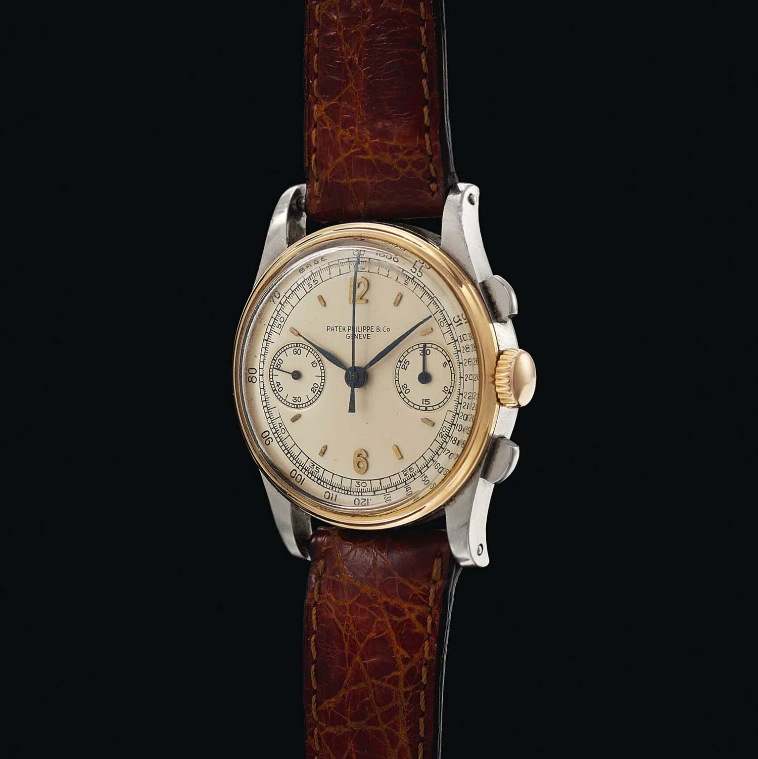 1941 Patek Philippe chronograph ref. 130 in steel and gold with Arabic numerals (Image: Sothebys.com)