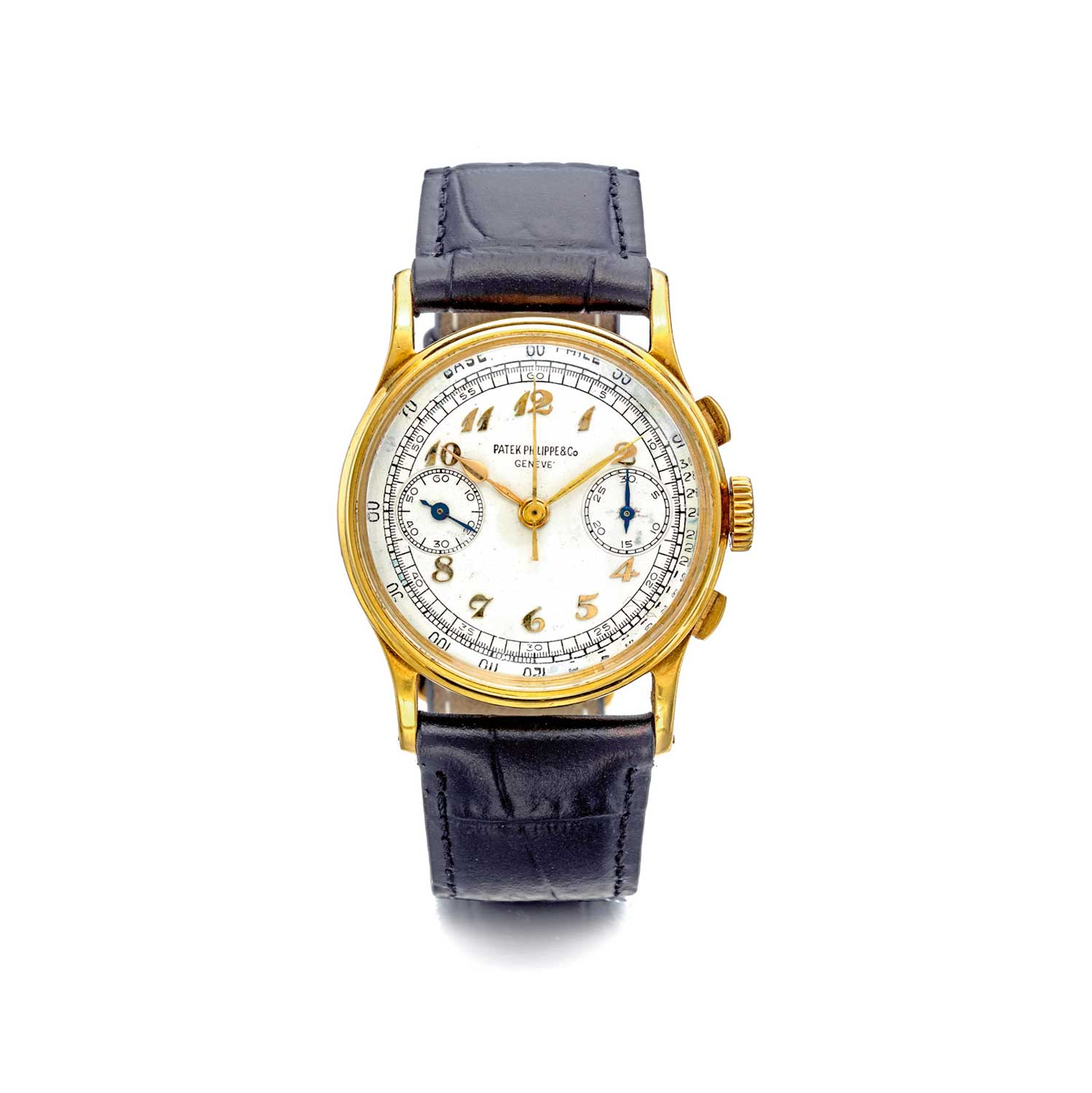 1945 Patek Philippe ref. 130 yellow gold chronograph with applied Breguet hour markers (Image: Sothebys.com)