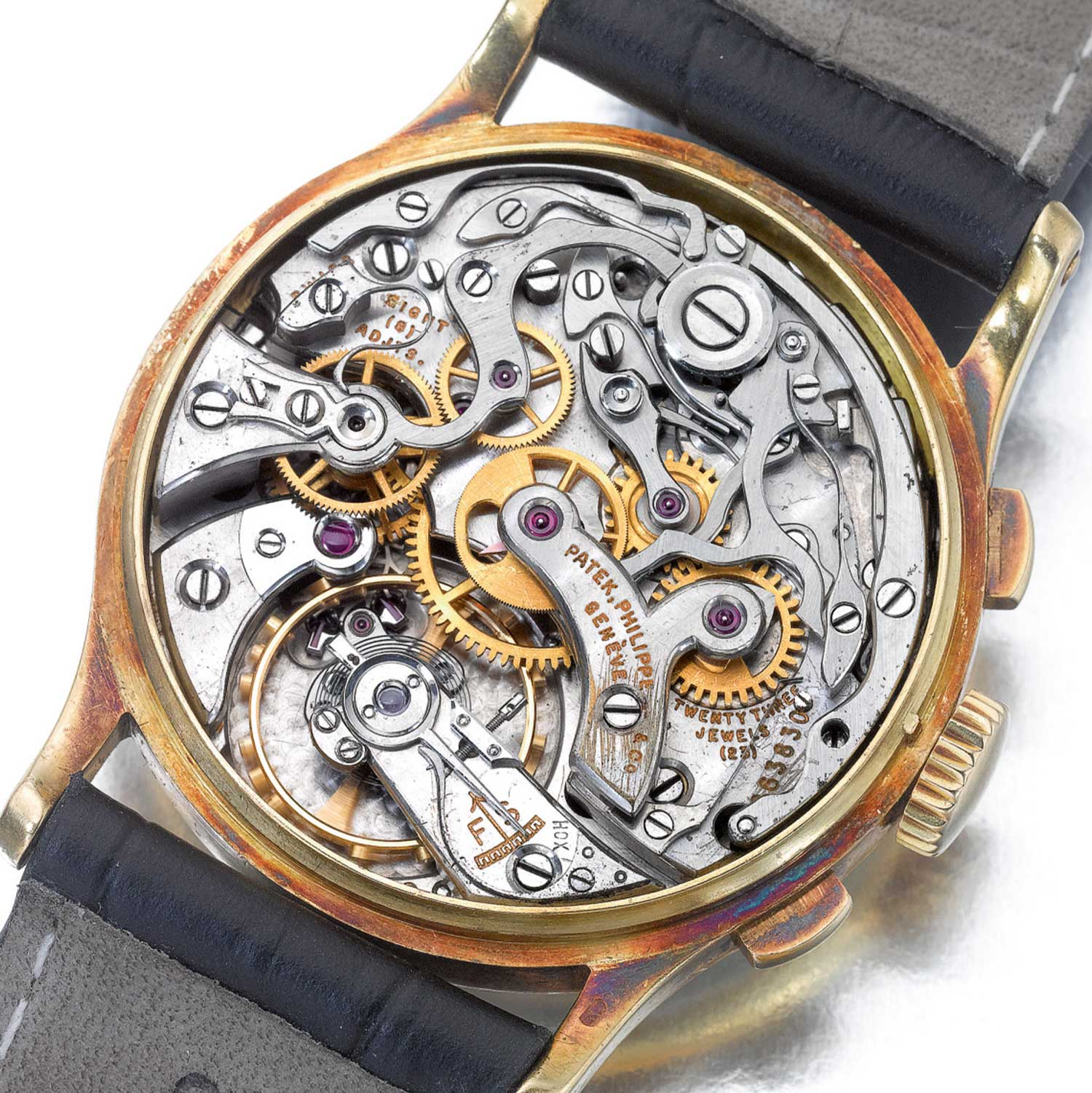 Sans caseback we can see the cal. 13''' manual winding movement powering the 1945 Patek Philippe ref. 130 yellow gold chronograph with applied Breguet hour markers (Image: Sothebys.com)