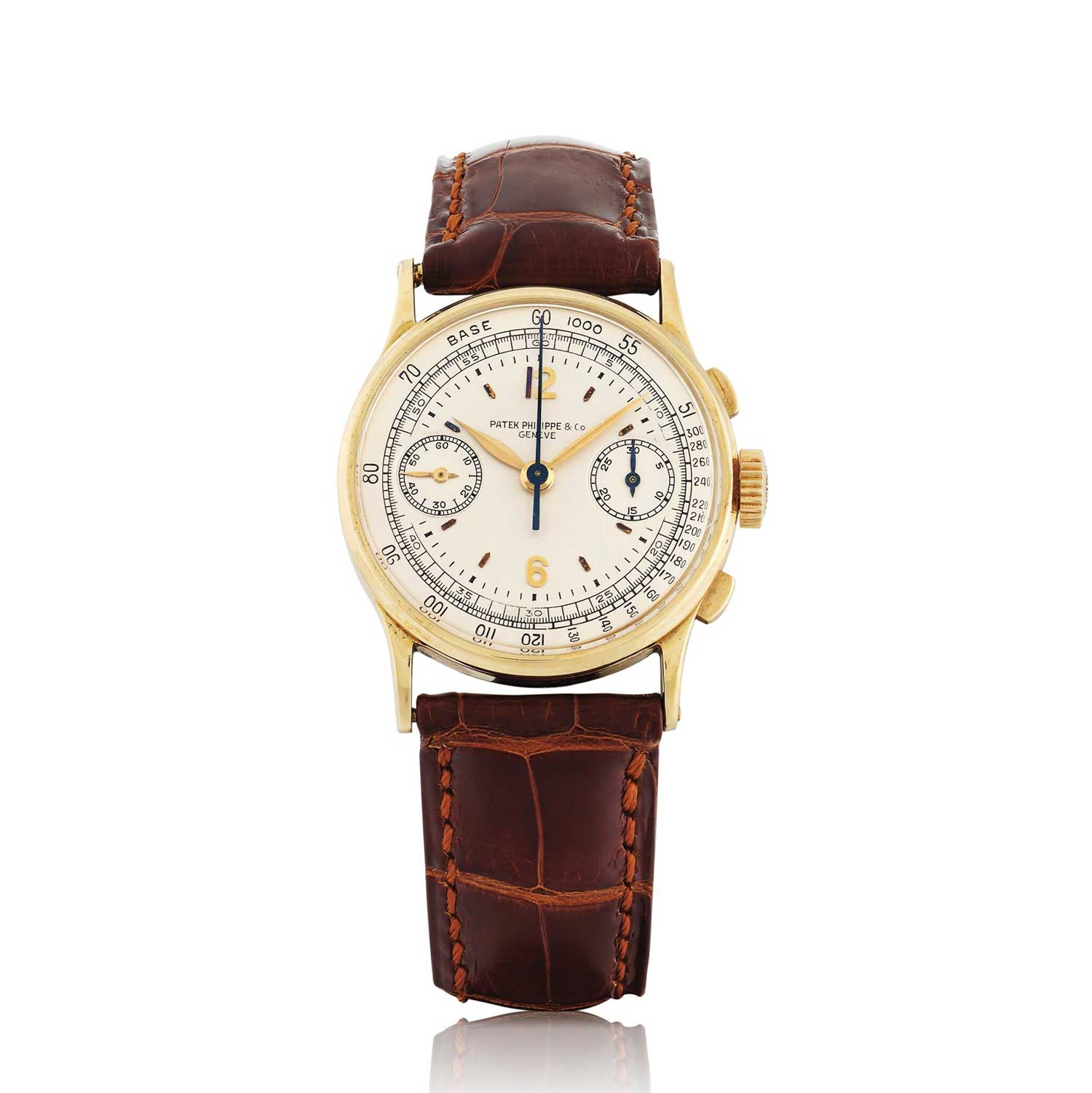 1938 Patek Philippe chronograph ref. 130 in yellow gold with Arabic numerals (Image: Sothebys.com)