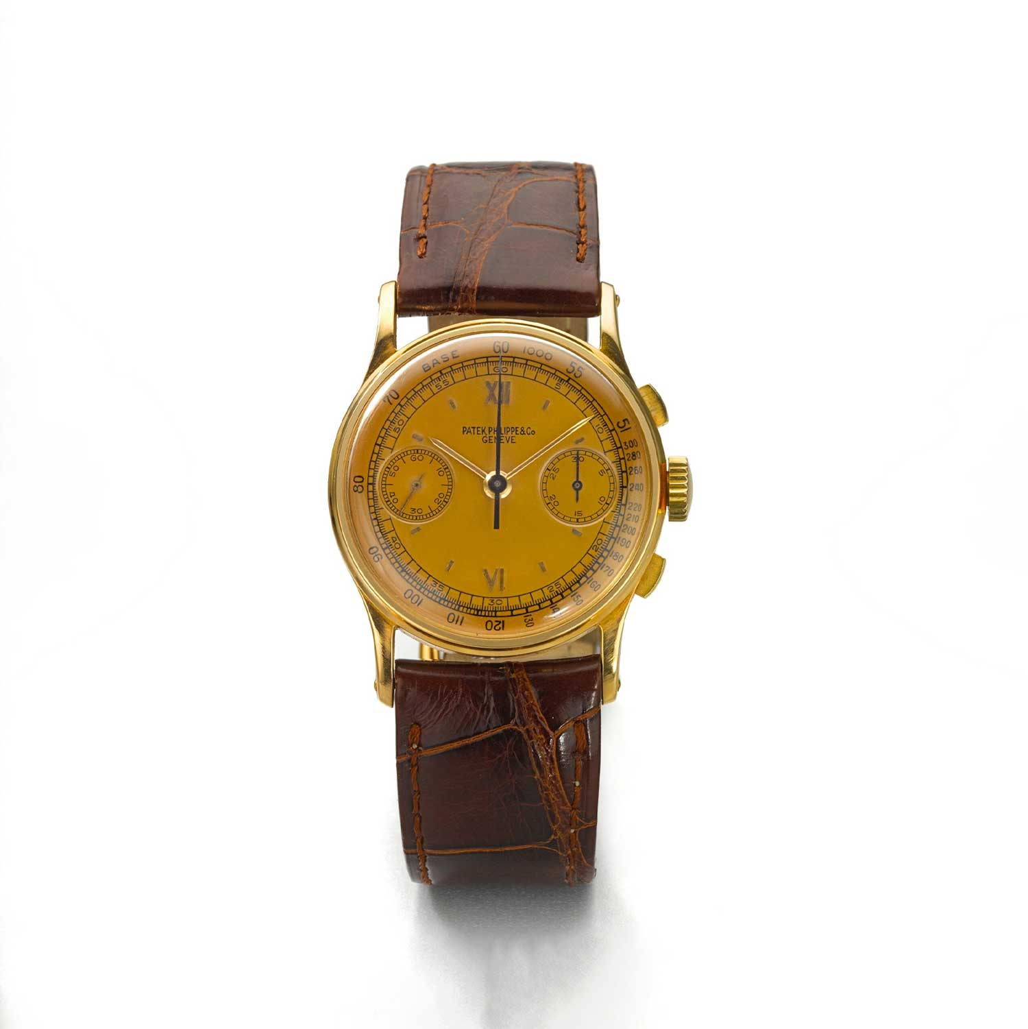 1945 Patek Philippe ref. 130 pink gold chronograph with applied Roman six and 12 on a pink gold dial (Image: Sothebys.com)