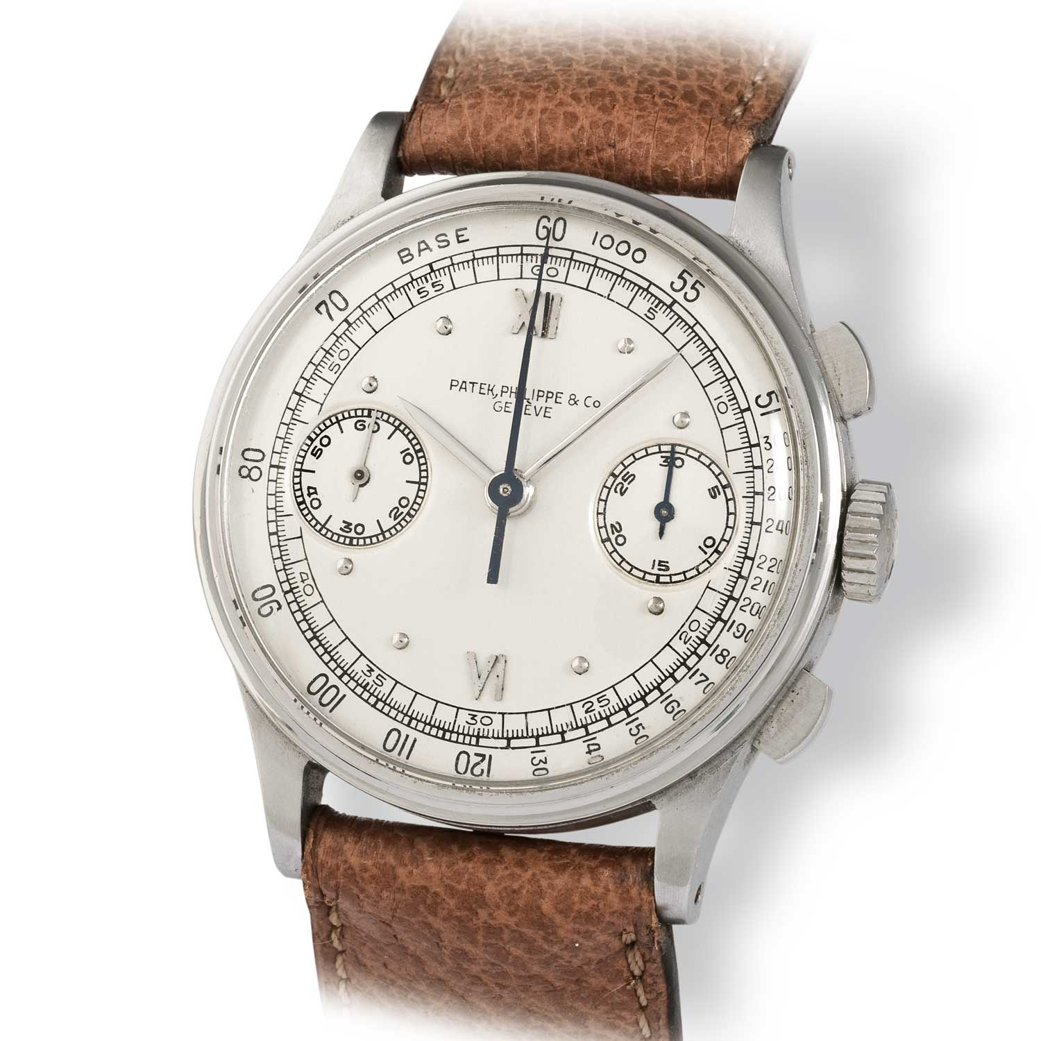 Patek Philippe ref. 130 steel chronograph with Roman numerals (Image: John Goldberger)