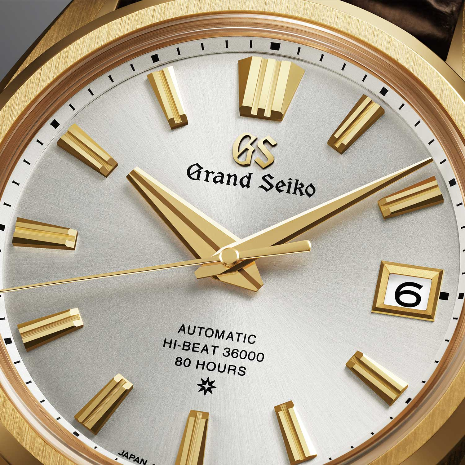 Close up on the dial of the Grand Seiko 60th Anniversary Limited Edition SLGH002 with virtually instantaneous date (Image: Grand Seiko)