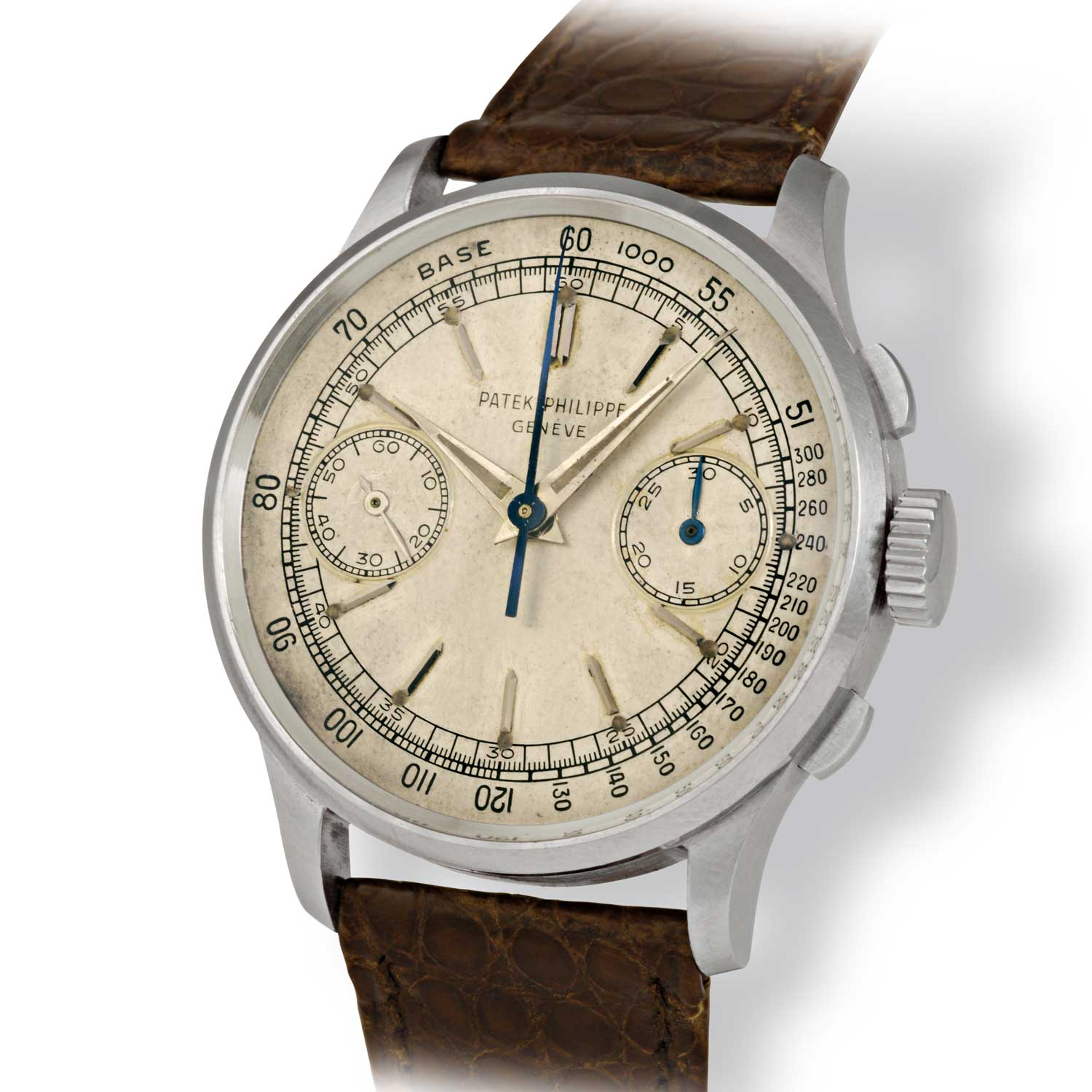 Patek Philippe ref. 130 steel chronograph with baton markers (Image: John Goldberger)