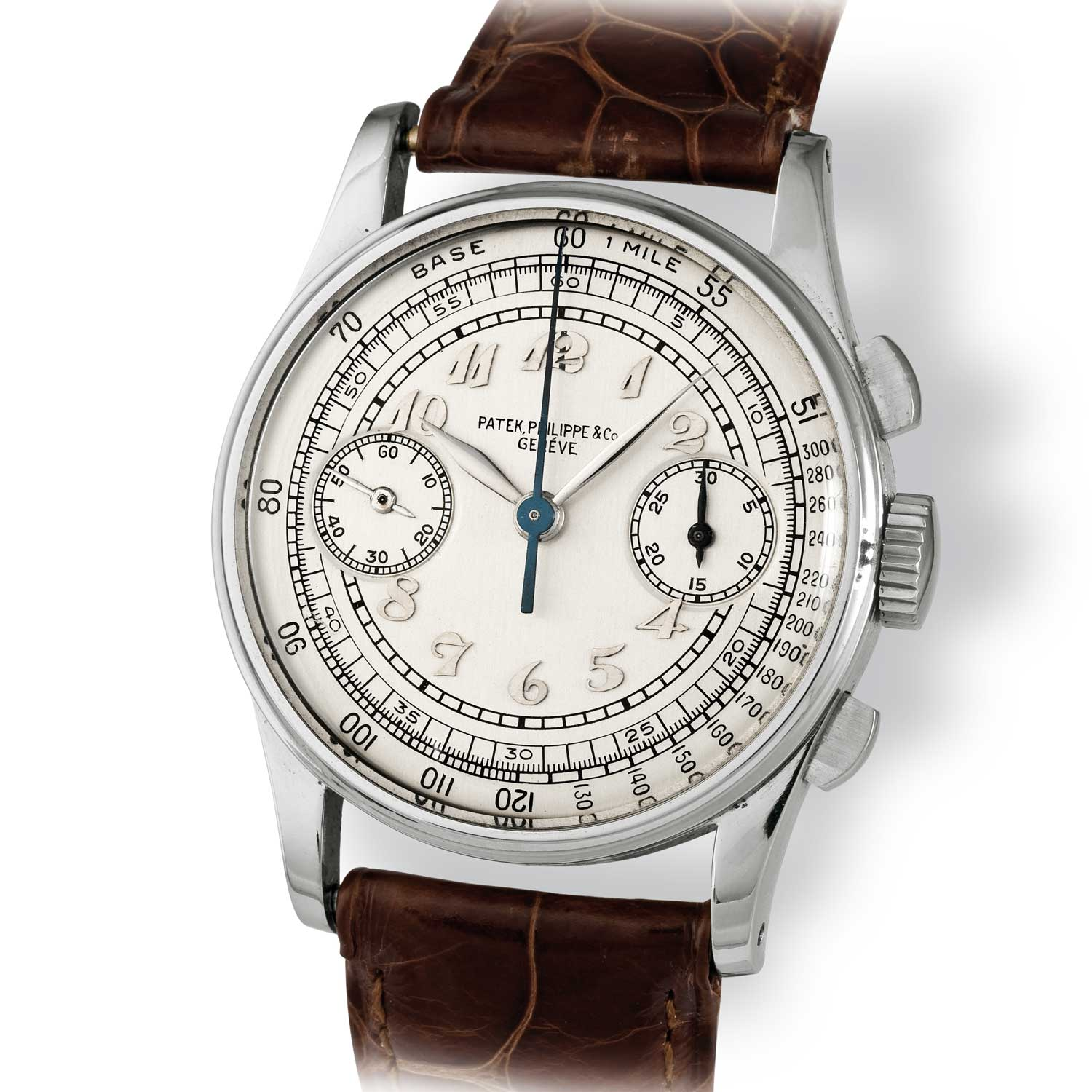 Patek Philippe ref. 130 steel chronograph with Breguet numerals (Image: John Goldberger)