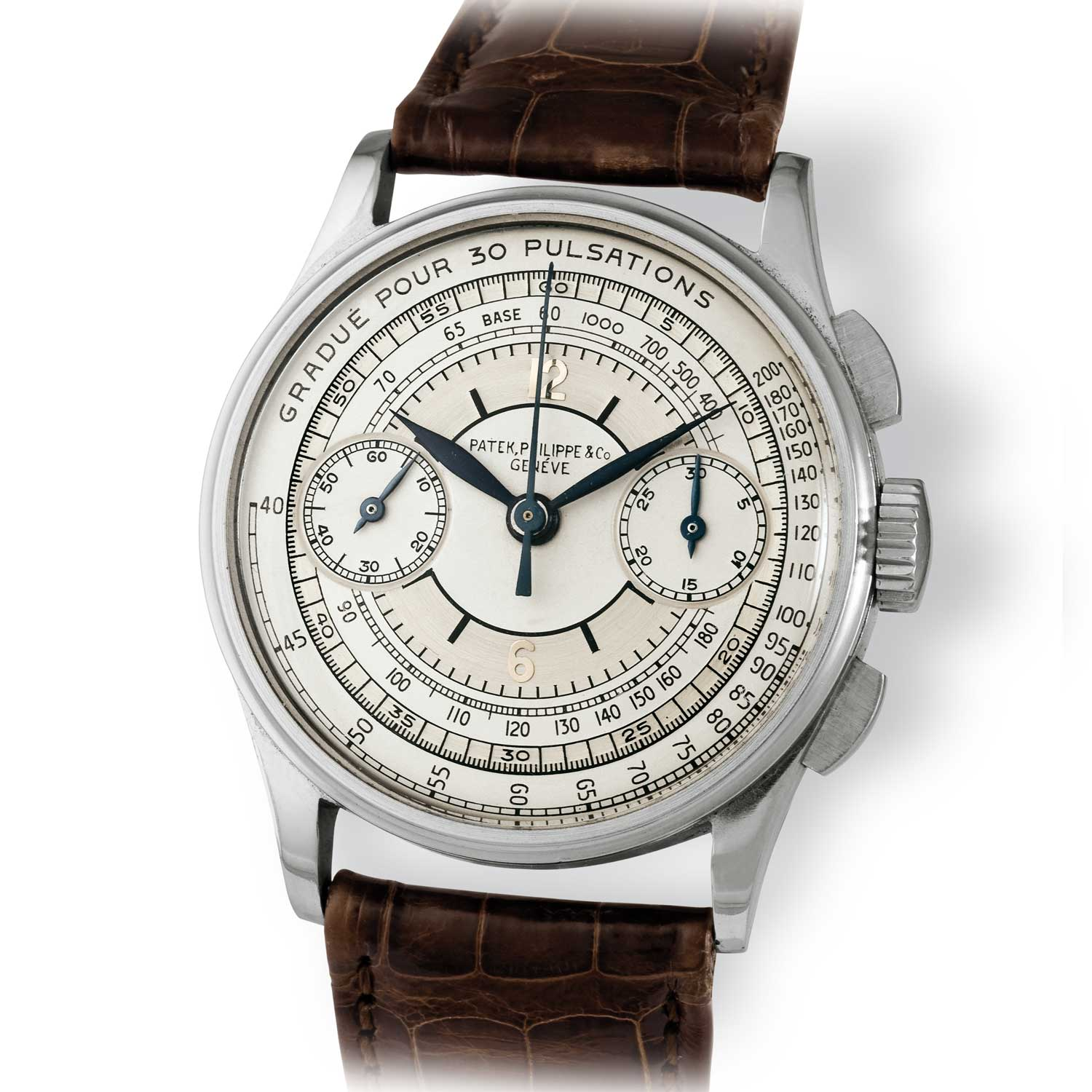 Patek Philippe ref. 130 steel chronograph with sector dial, pulsation scale and tachymeter scales (Image: John Goldberger)