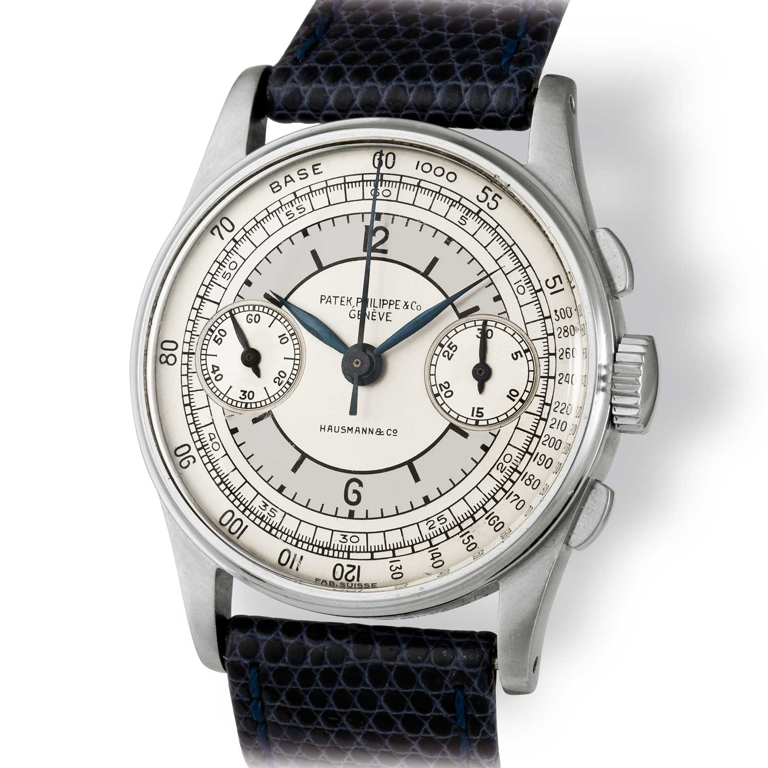 Patek Philippe ref. 130 steel chronograph with sector dial and tachymeter scale (Image: John Goldberger)