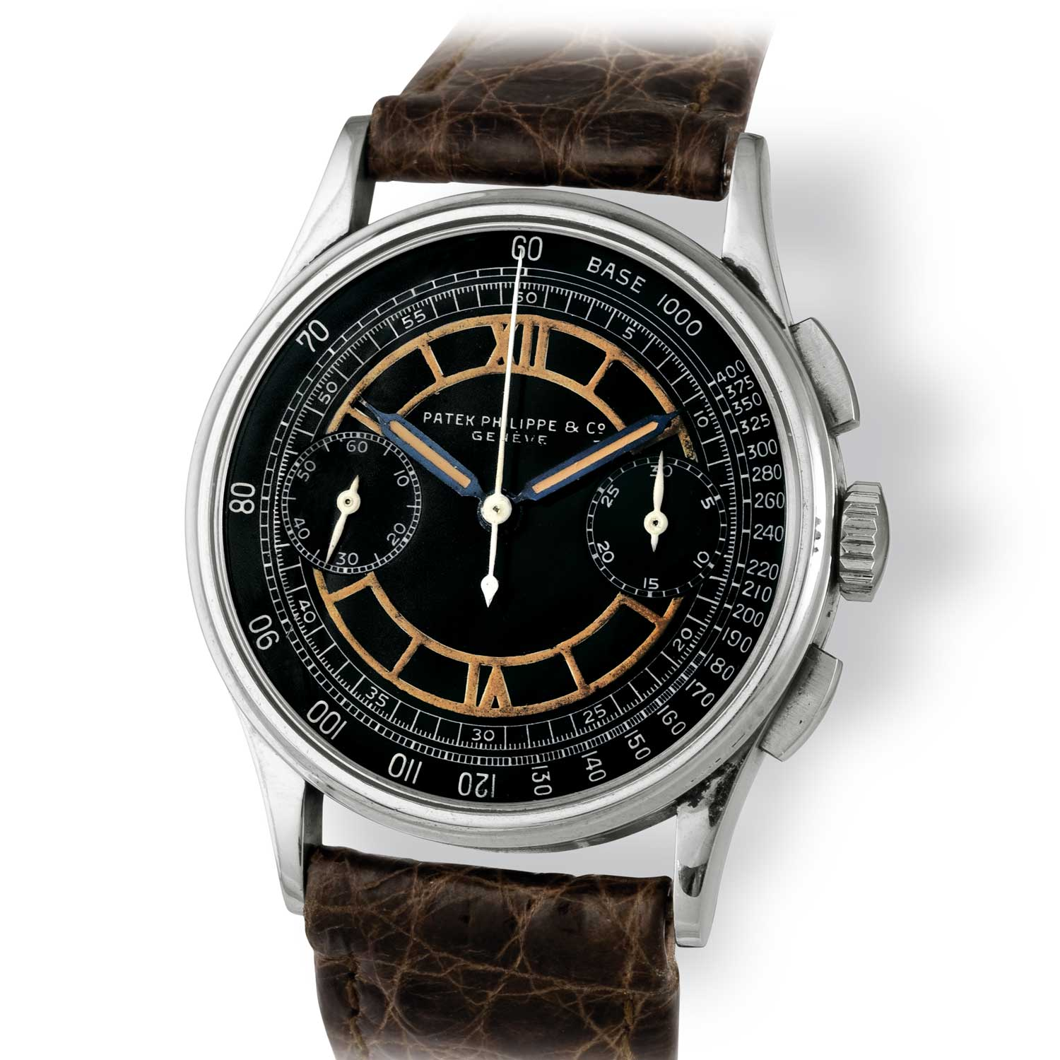 Patek Philippe ref. 130 steel chronograph with black dial and luminous chapter ring; tachymeter scale (Image: John Goldberger)
