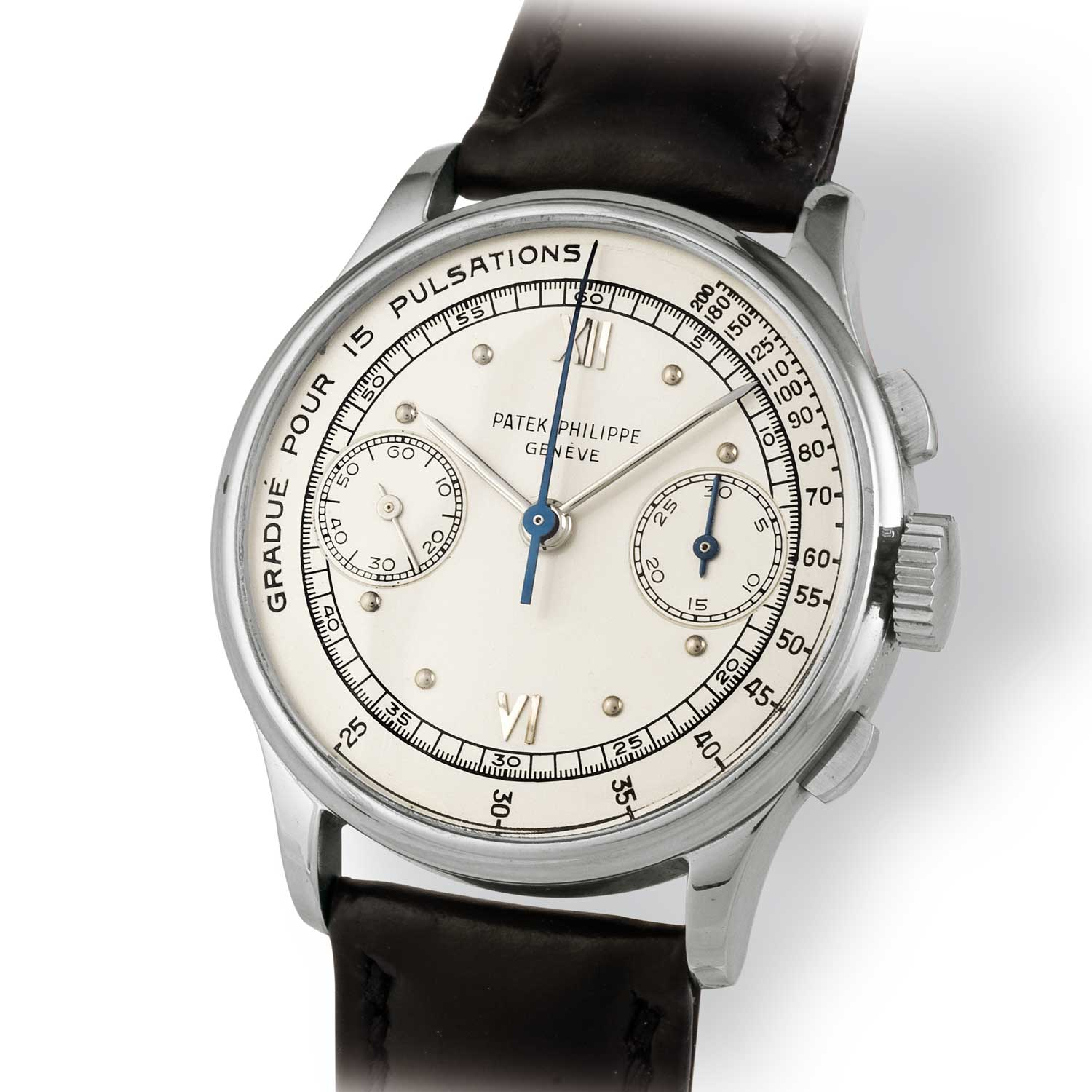 Patek Philippe ref. 130 steel chronograph with pulsation scale (Image: John Goldberger)