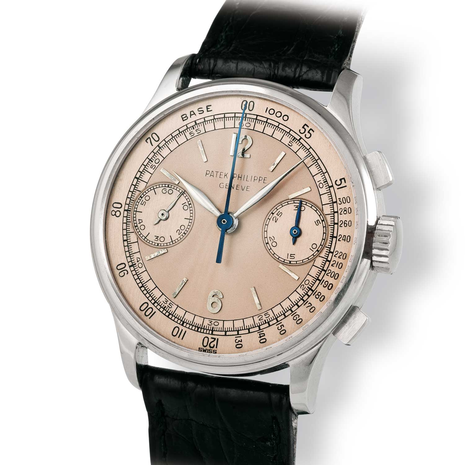 Patek Philippe ref. 130 steel chronograph with salmon/pink dial (Image: John Goldberger)