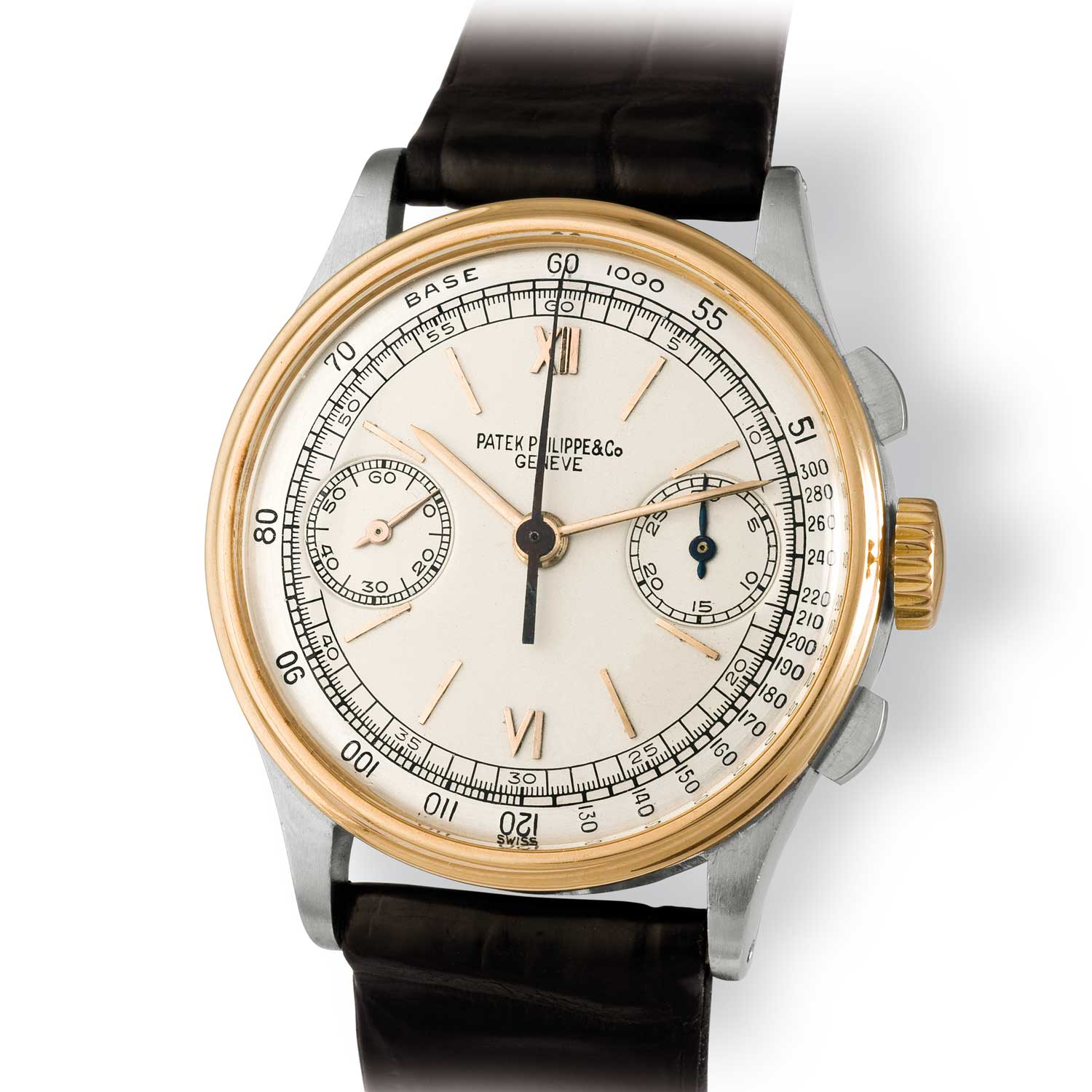 Patek Philippe ref. 130 steel and gold chronograph with mix of Roman and baton markets (Image: John Goldberger)