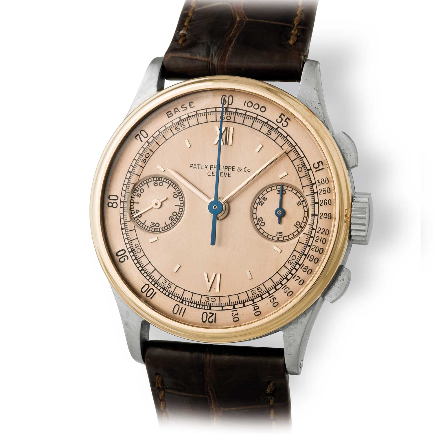 Patek Philippe ref. 130 steel and gold chronograph with a gold dial and a mix of Roman and baton markets (Image: John Goldberger)