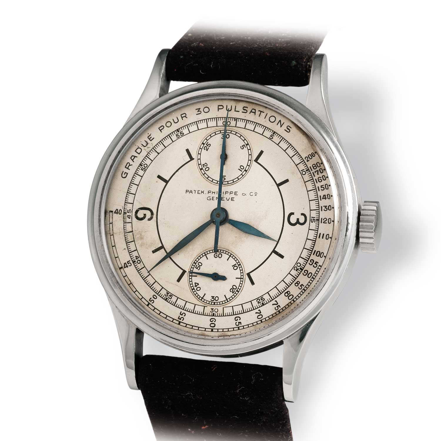 Early Patek Philippe ref. 130 steel chronograph powered by a Victorin Piguet ébauche and in a monopusher configuration, instead of the Valjoux-based movement found in the majority examples of 130 (Image: John Goldberger)