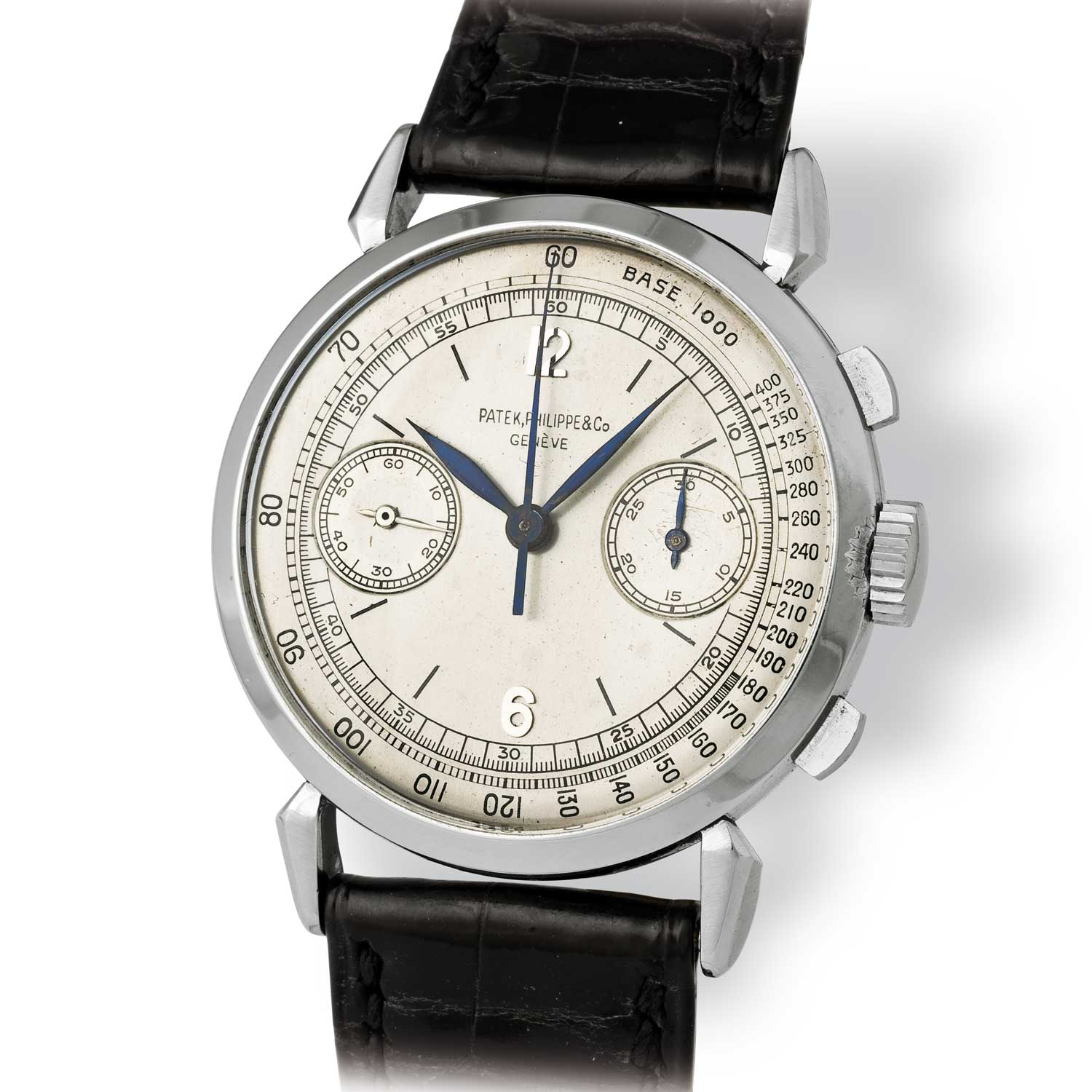 Patek Philippe ref. 1579 steel chronograph with Arabic numerals (Image: John Goldberger)